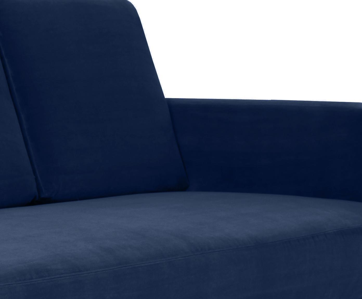 Szezlong z aksamitu Fluente, Tapicerka: aksamit (wysokiej jakości, Stelaż: lite drewno sosnowe, Nogi: metal lakierowany, Aksamitny ciemny niebieski, S 201 x G 83 cm