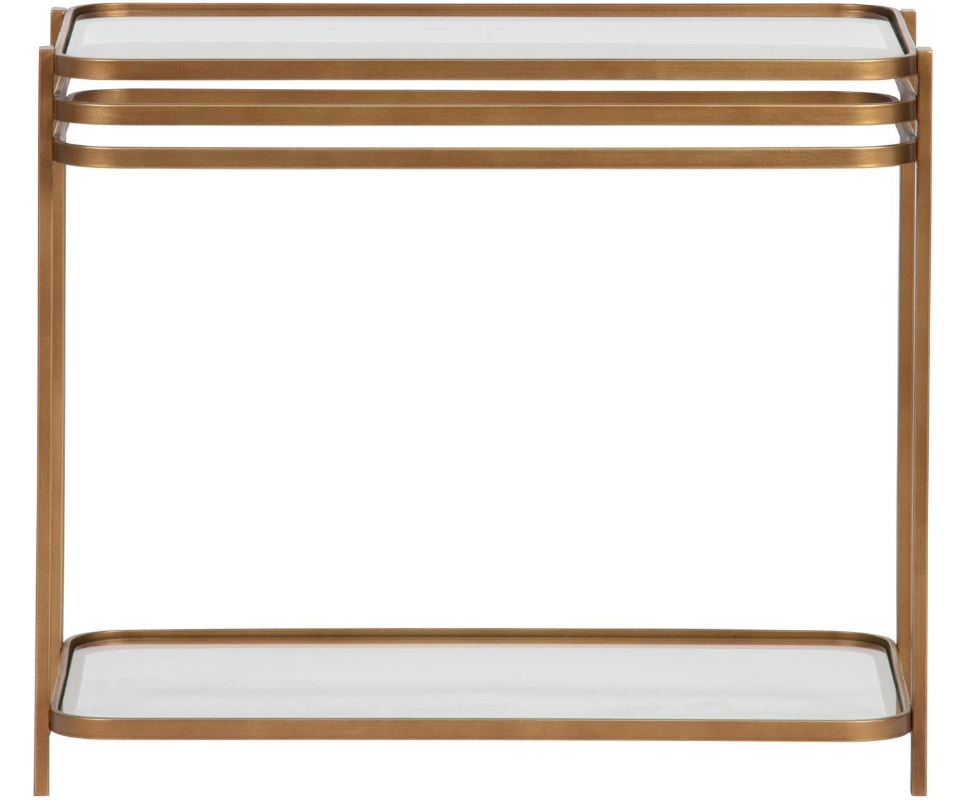 Piccola consolle vintage Kylie, Struttura: metallo, verniciato, Ripiani: vetro temperato, Ottone con finitura antica, trasparente, Larg. 51 x Prof. 36 cm