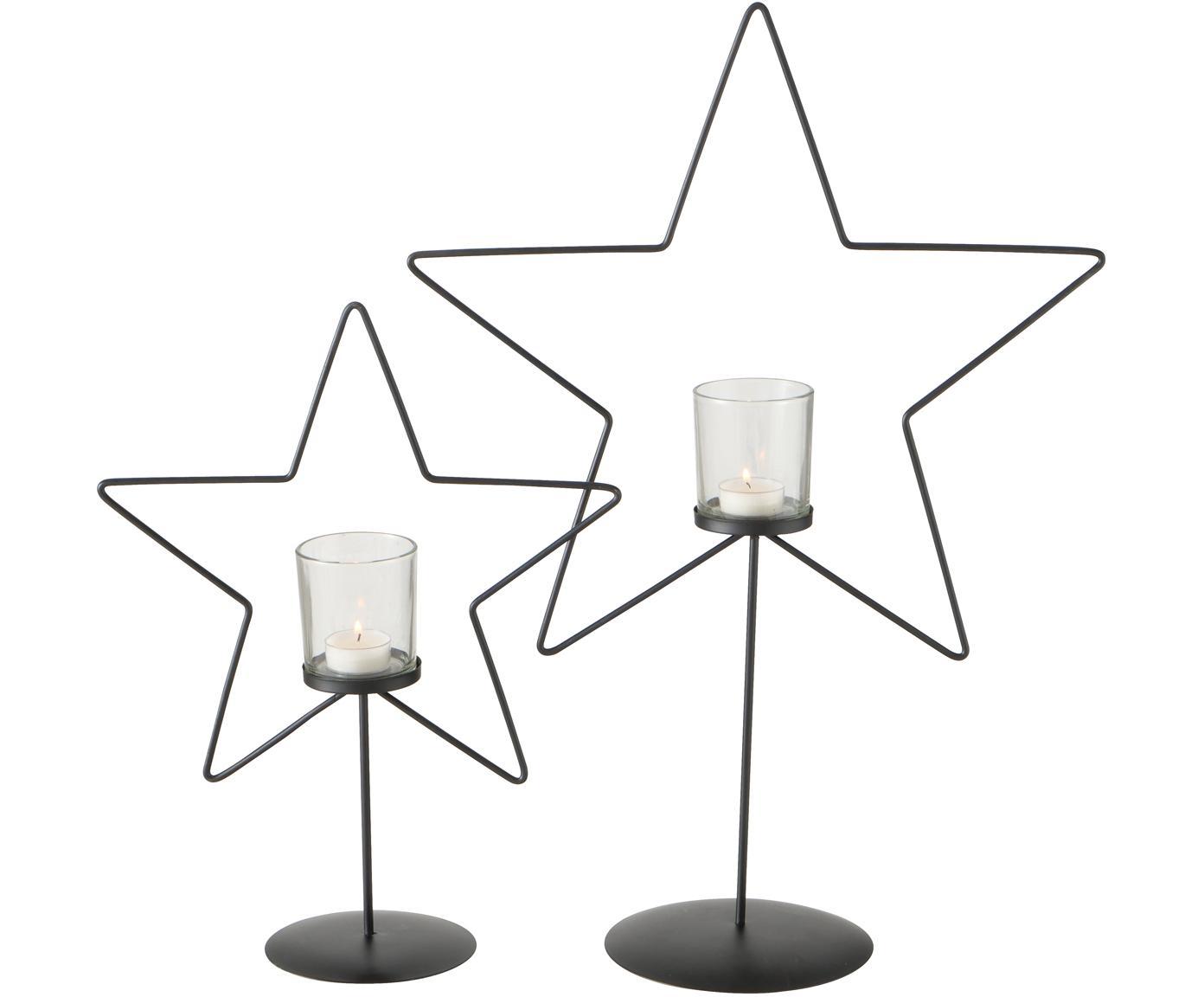 Windlichter-Set Pina, 2-tlg., Gestell: Metall, beschichtet, Windlicht: Glas, schwarz, Transparent, Verschiedene Grössen