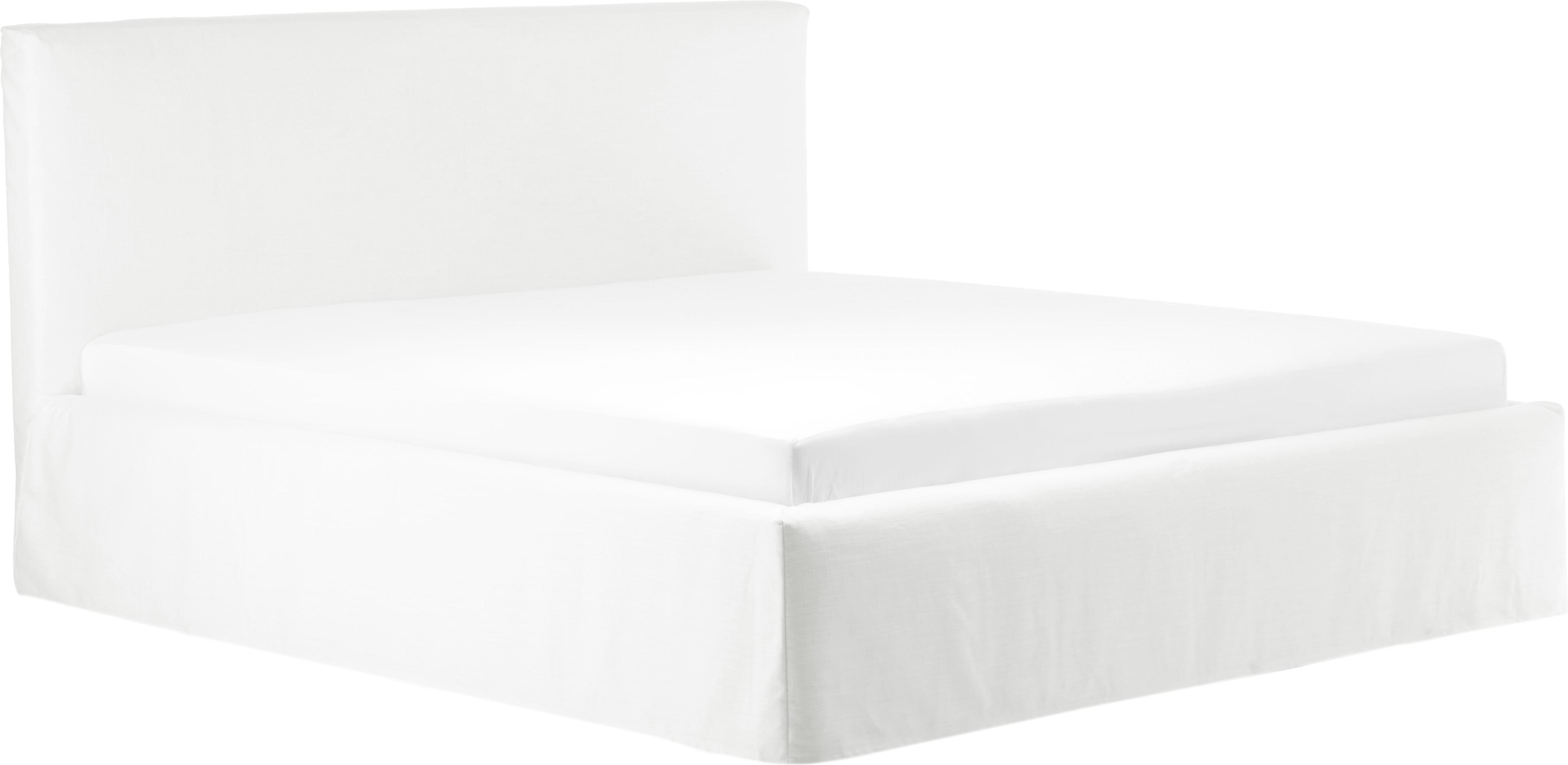 Łóżko tapicerowane z funkcją przechowywania Feather, Korpus: lite drewno sosnowe, Tapicerka: poliester (materiał tekst, Kremowobiały, 140 x 200 cm