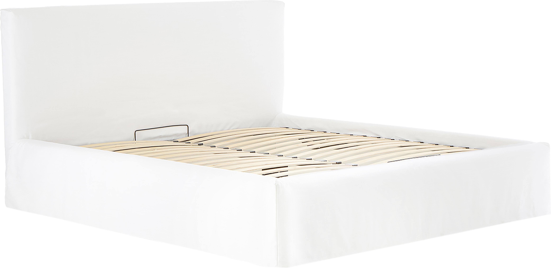 Polsterbett Feather mit Stauraum, Korpus: Massives Kiefernholz, Bezug: Polyester (Strukturstoff), Cremeweiss, 180 x 200 cm