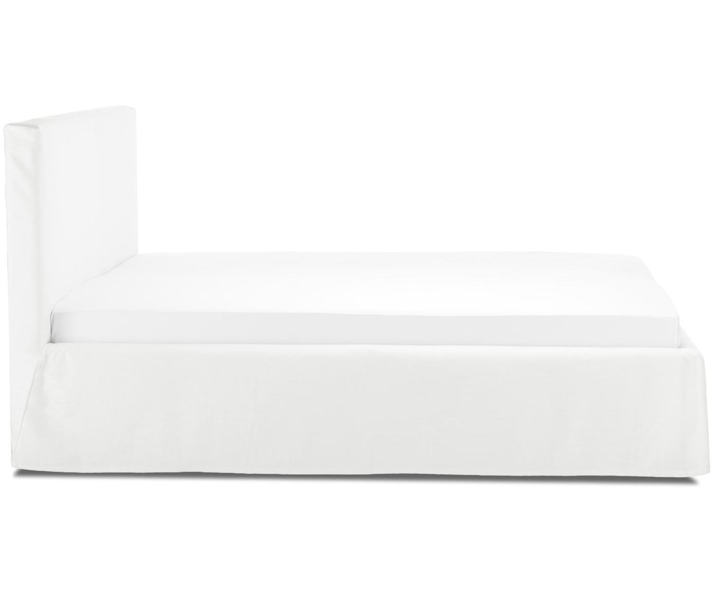 Łóżko tapicerowane z funkcją przechowywania Feather, Korpus: lite drewno sosnowe, Tapicerka: poliester (materiał tekst, Kremowobiały, 180 x 200 cm