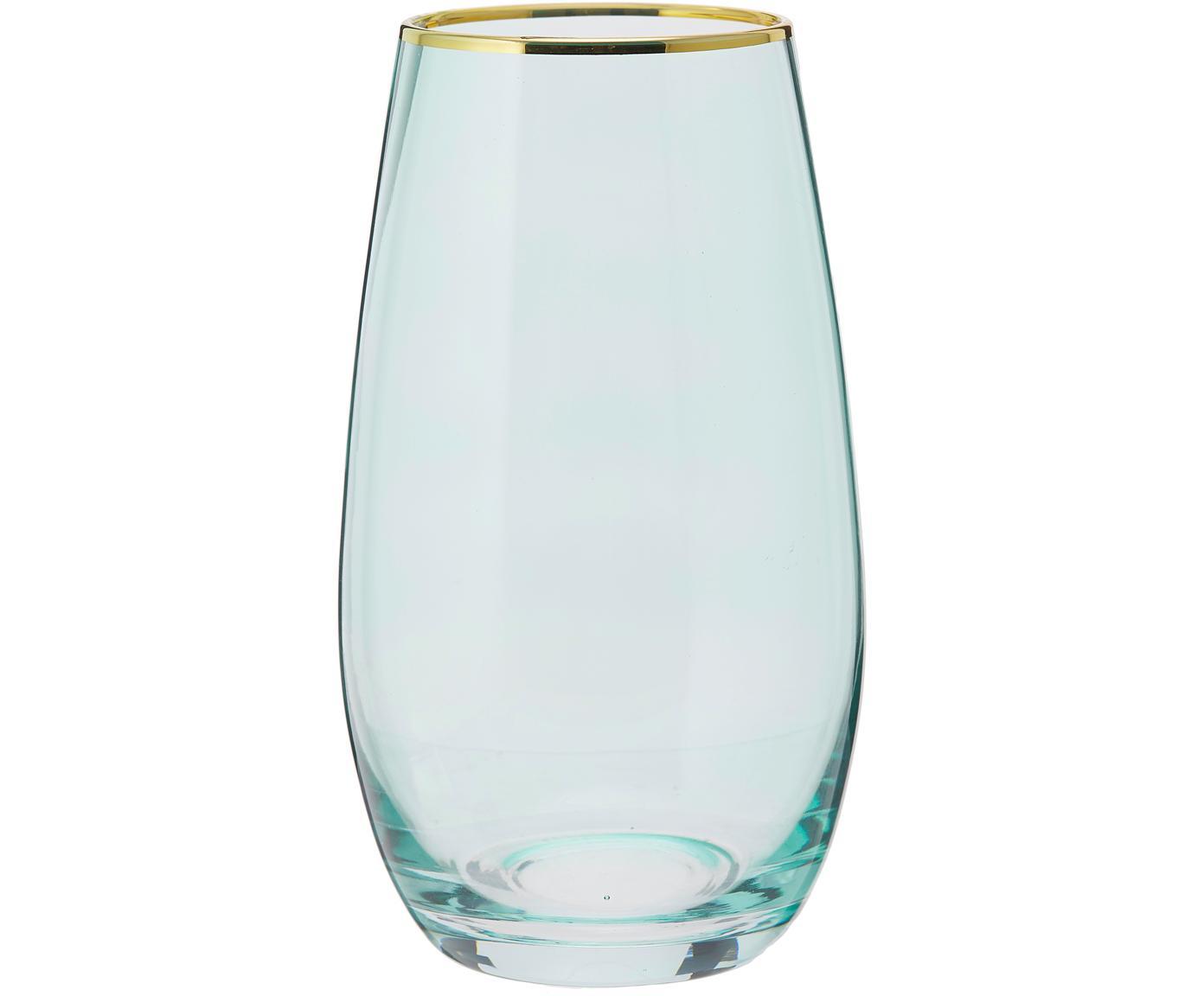 Bicchiere acqua con bordo dorato Chloe 4 pz, Vetro, Azzurro, Ø 9 x Alt. 16 cm