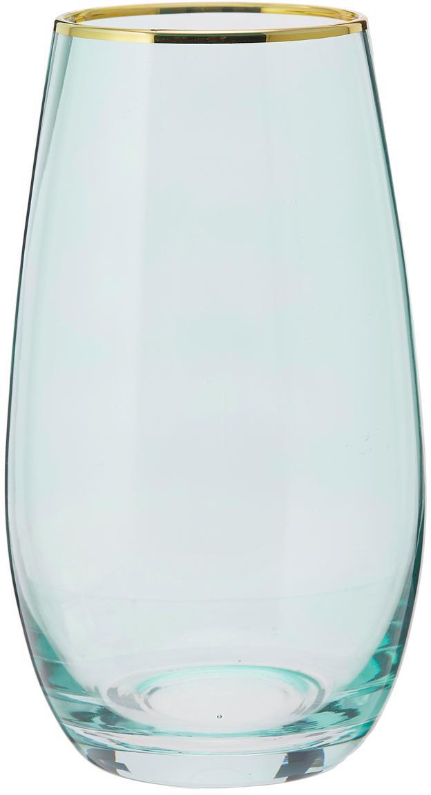 Hohe Wassergläser Chloe in Blau mit Goldrand, 4er-Set, Glas, Hellblau, Ø 9 x H 16 cm