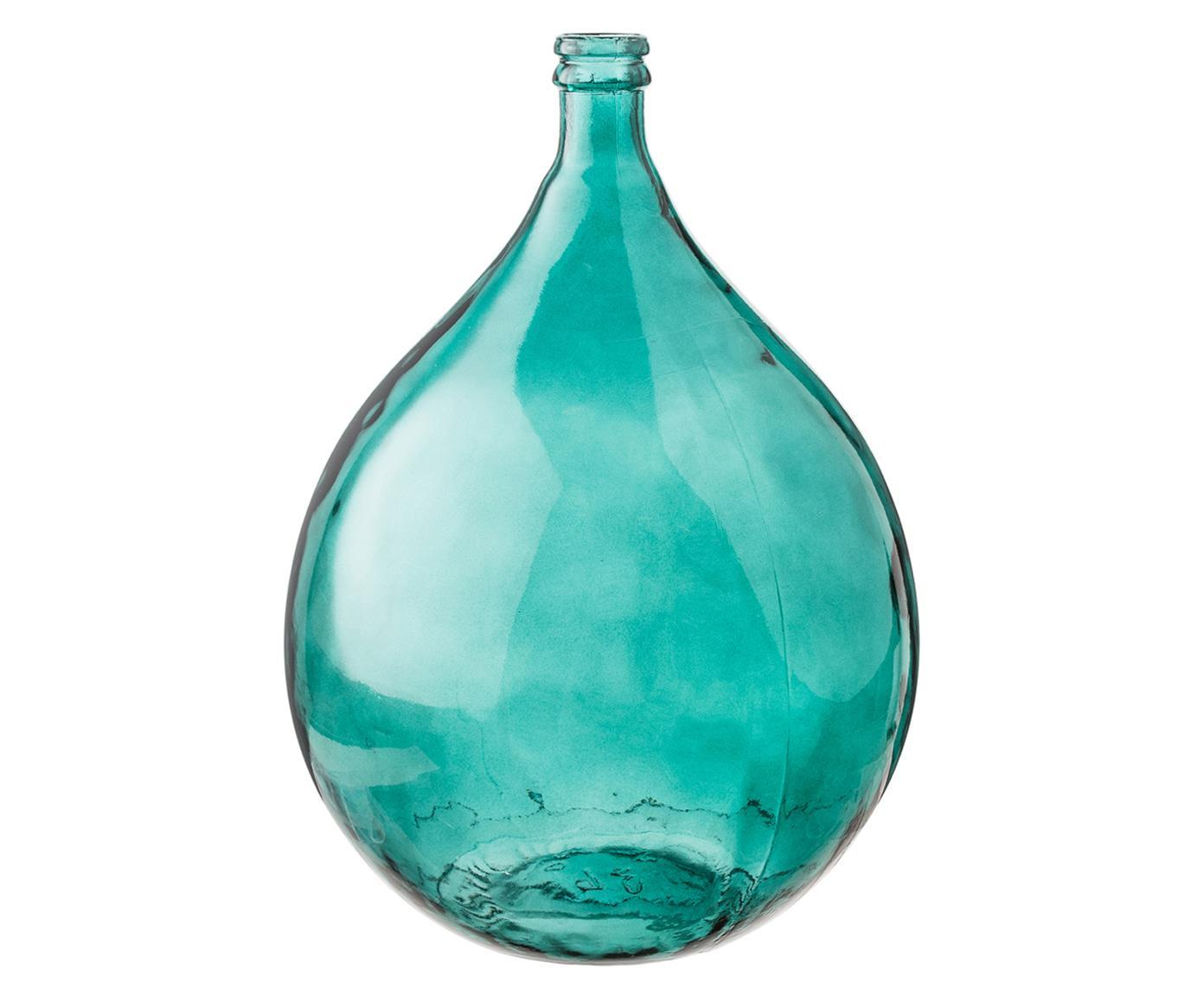 Jarrón de suelo de vidrio reciclado Drop, Vidrio reciclado, Azul aqua, Ø 40 x Al 56 cm