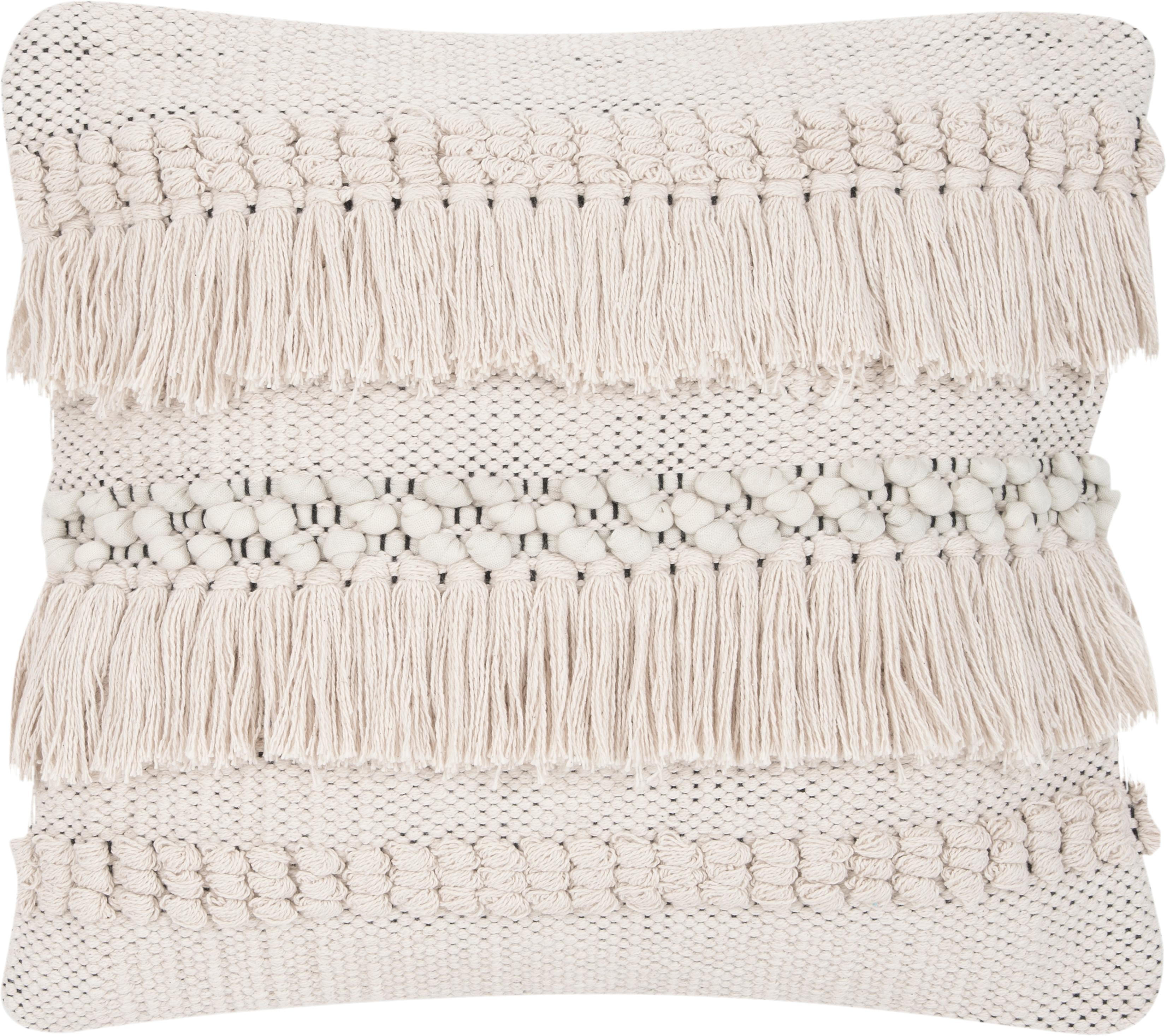 Boho Kissenhülle Kele in Ecru, 97% Baumwolle, 3% Polyester, Ecru, Schwarz, 40 x 40 cm