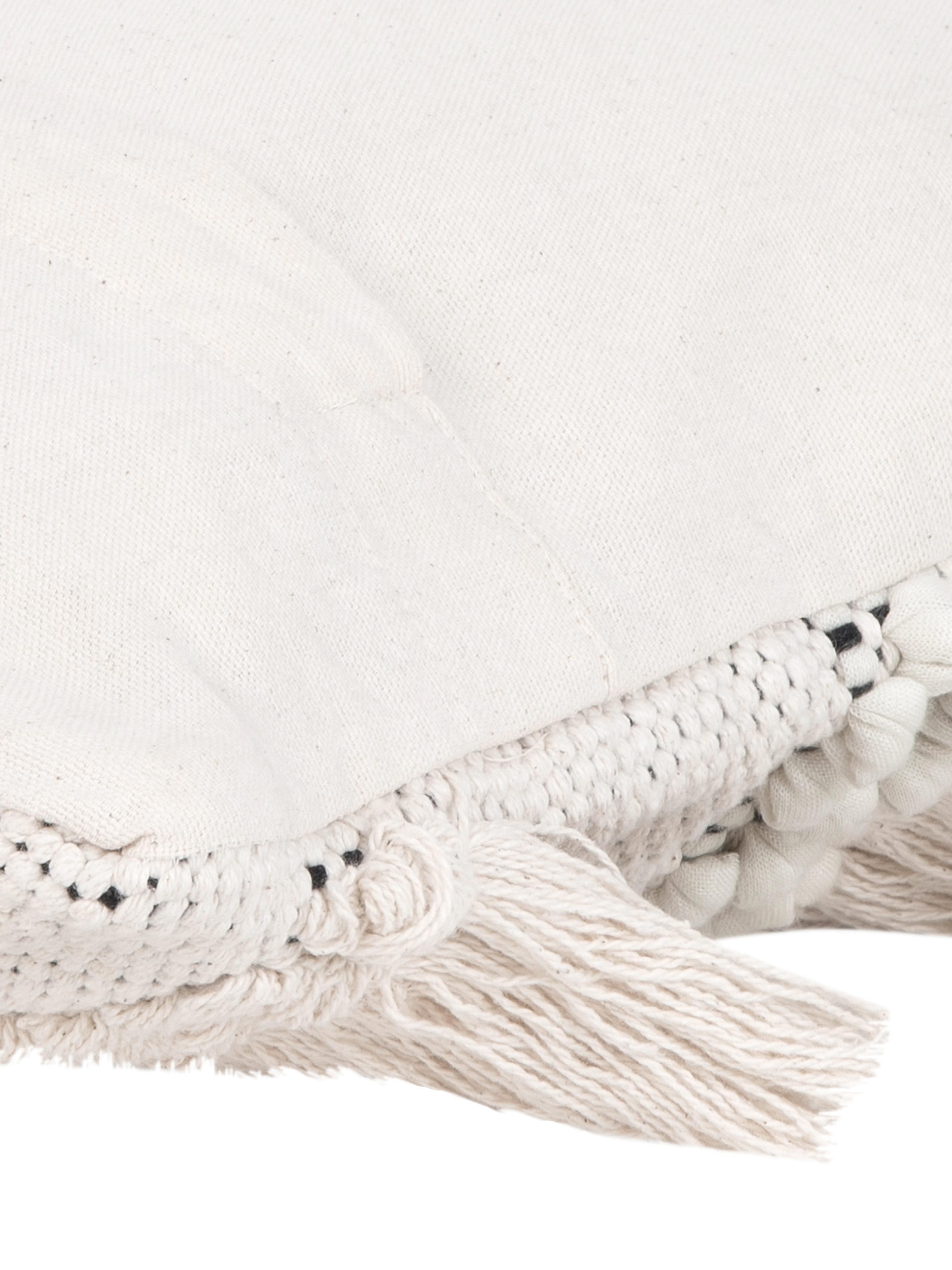 Funda de cojín Kele, estilo boho, Algodón, Crudo, negro, An 40 x L 40 cm