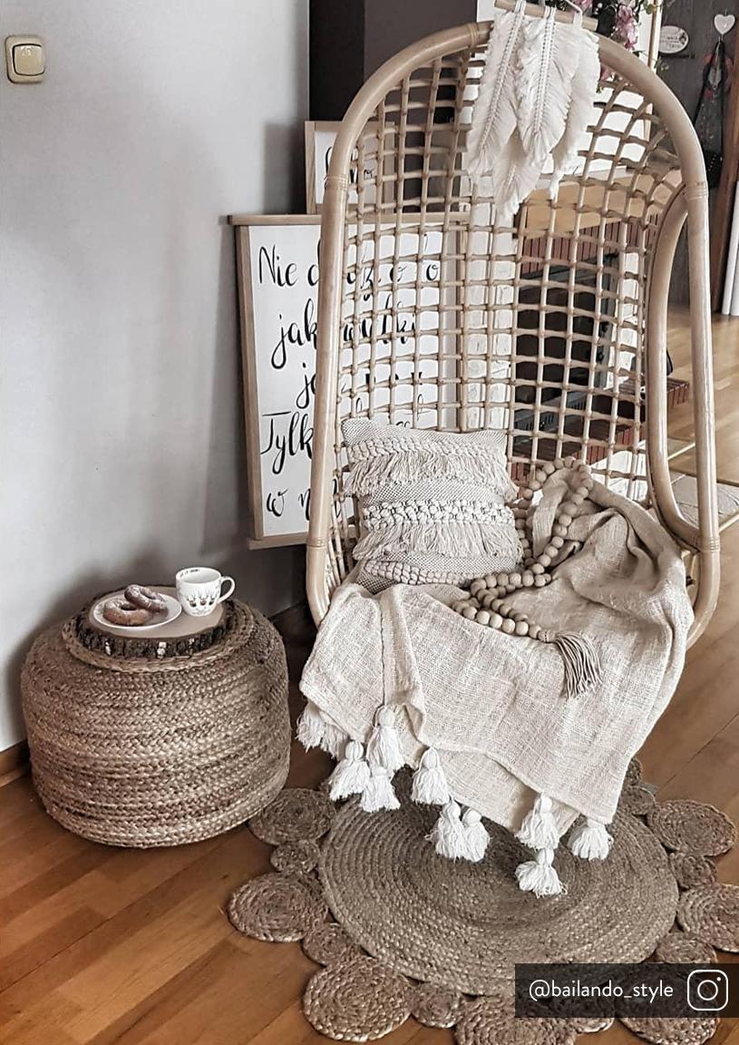 Poszewka na poduszkę boho Kele, 97% bawełna, 3% poliester, Ecru, czarny, S 40 x D 40 cm