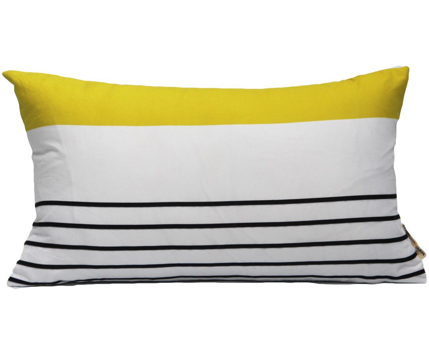 Funda de cojín Magdalena, Poliéster, Blanco, amarillo, negro, An 30 x L 50 cm