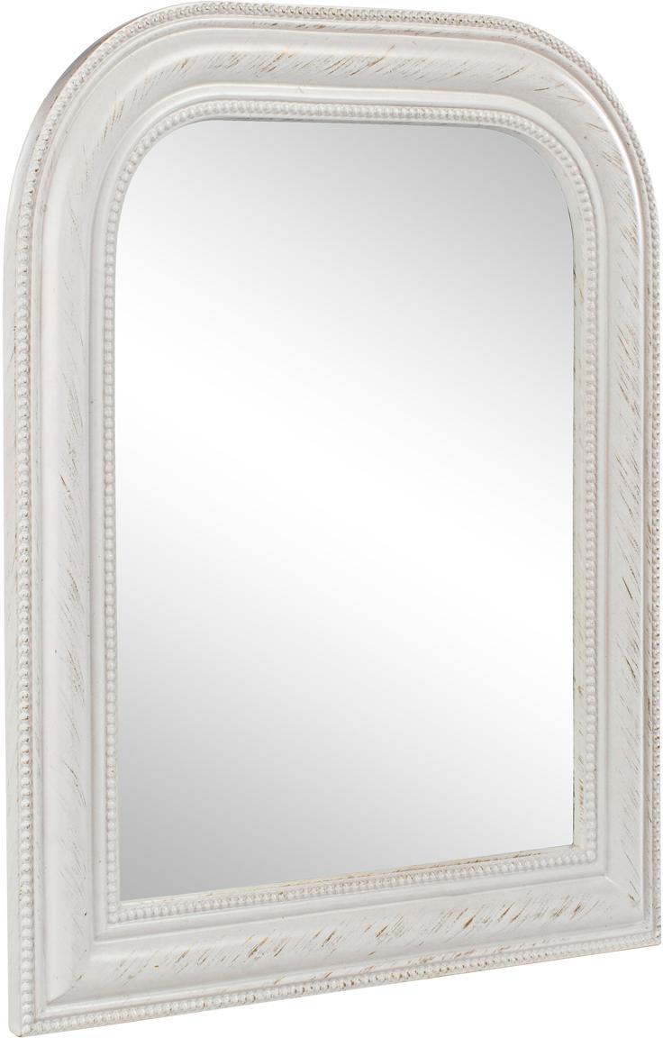 Specchio da parete con legno bianco Miro, Cornice: legno, rivestito, Superficie dello specchio: lastra di vetro, Bianco, Larg. 50 x Alt. 60 cm