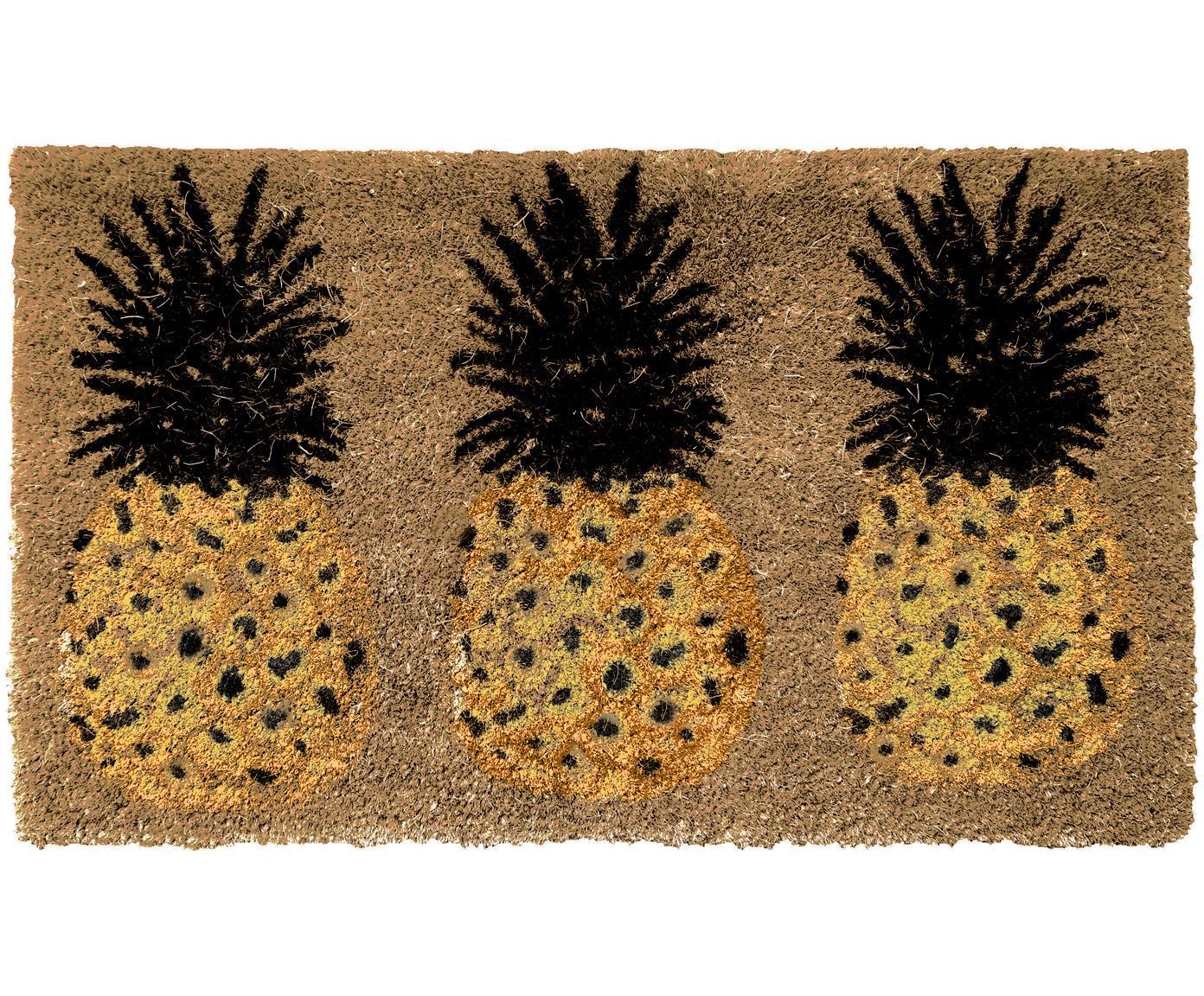 Felpudo Three Pineapples, Parte superior: fibras de coco, Parte trasera: PVC, Beige, amarillo, negro, An 45 x L 75 cm