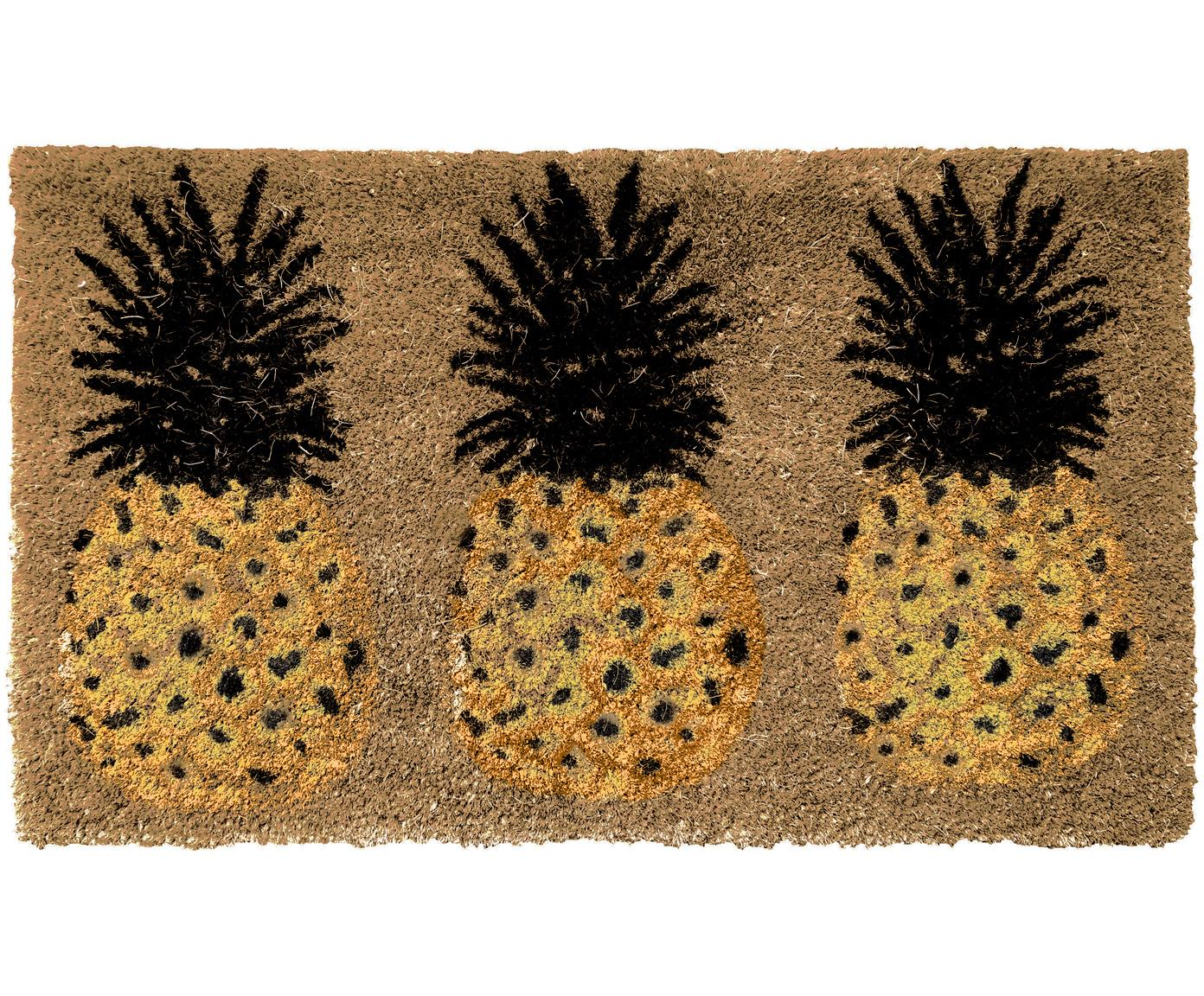 Zerbino antiscivolo in cocco con ananas Pineapples, Retro: PVC, Beige, giallo, nero, Larg. 45 x Lung. 75 cm