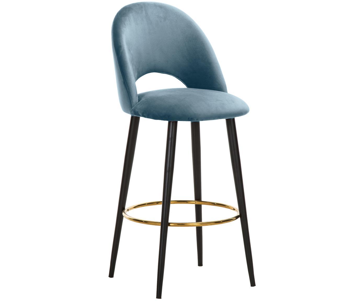 Sedia da bar in velluto Rachel, Rivestimento: velluto (poliestere) 50.0, Gambe: metallo verniciato a polv, Velluto azzurro, Larg. 48 x Alt. 110 cm