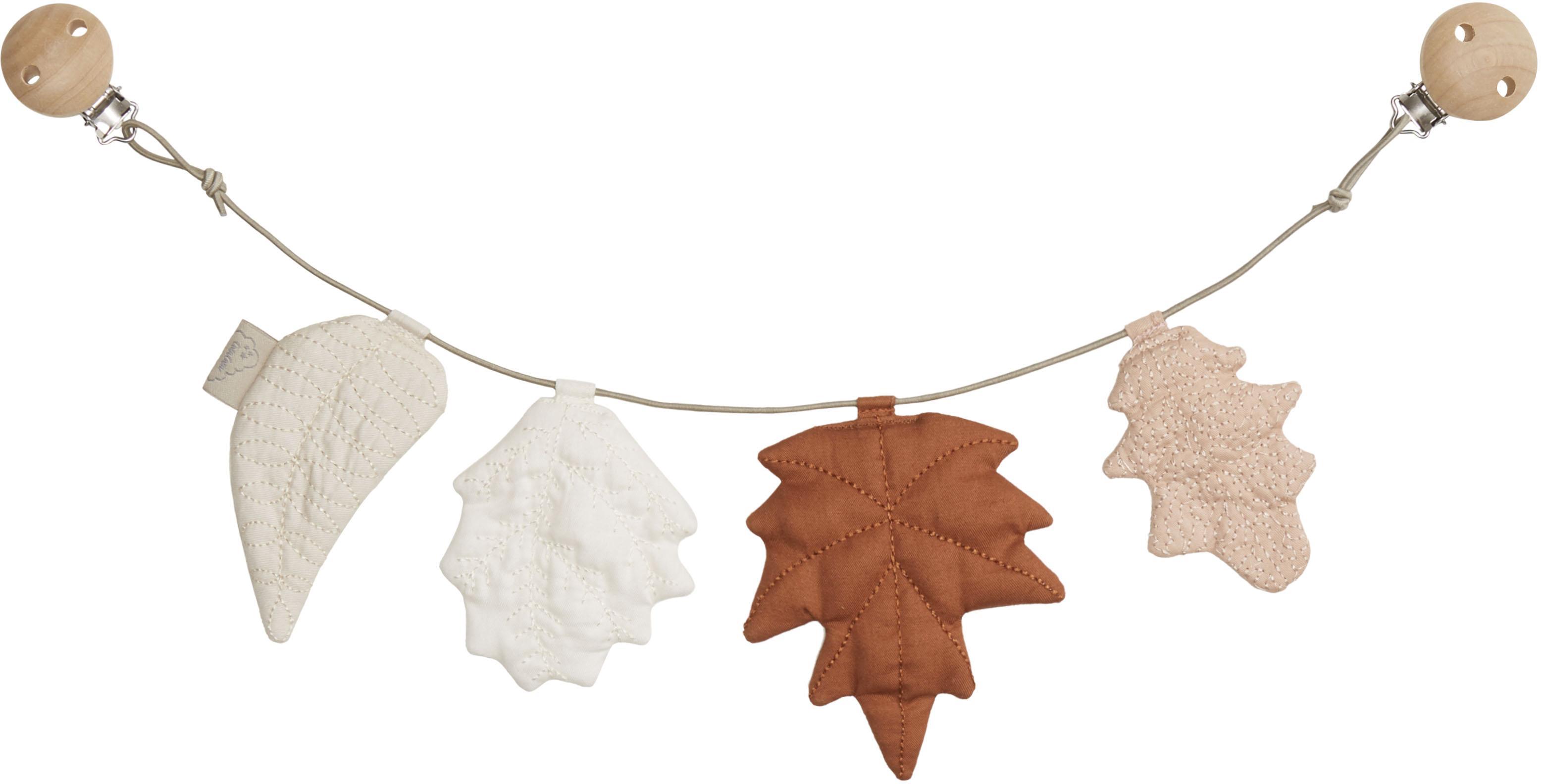Kinderwagen ketting Leaves van biokatoen, 100% biokatoen, Bruin, beigetinten, L 50 x H 16 cm