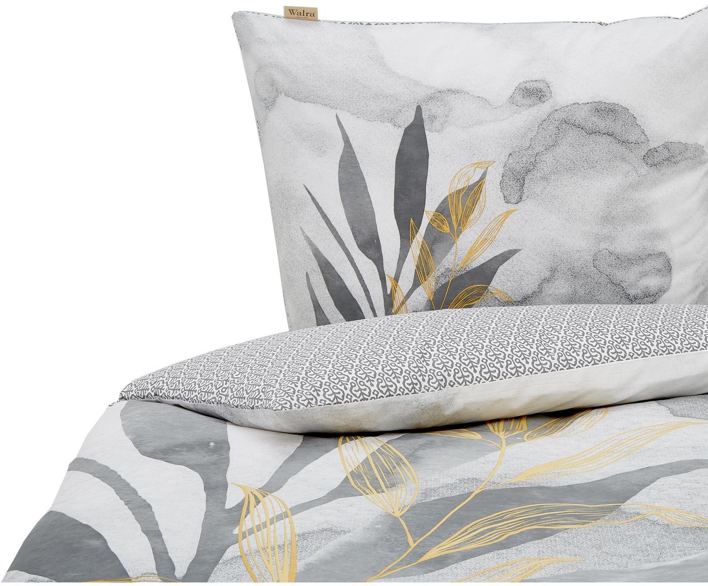 Baumwoll-Wendebettwäsche Lovely Leaves mit Aquarell-Print, Webart: Renforcé Renforcé besteht, Weiß, Grau, 135 x 200 cm + 1 Kissen 80 x 80 cm