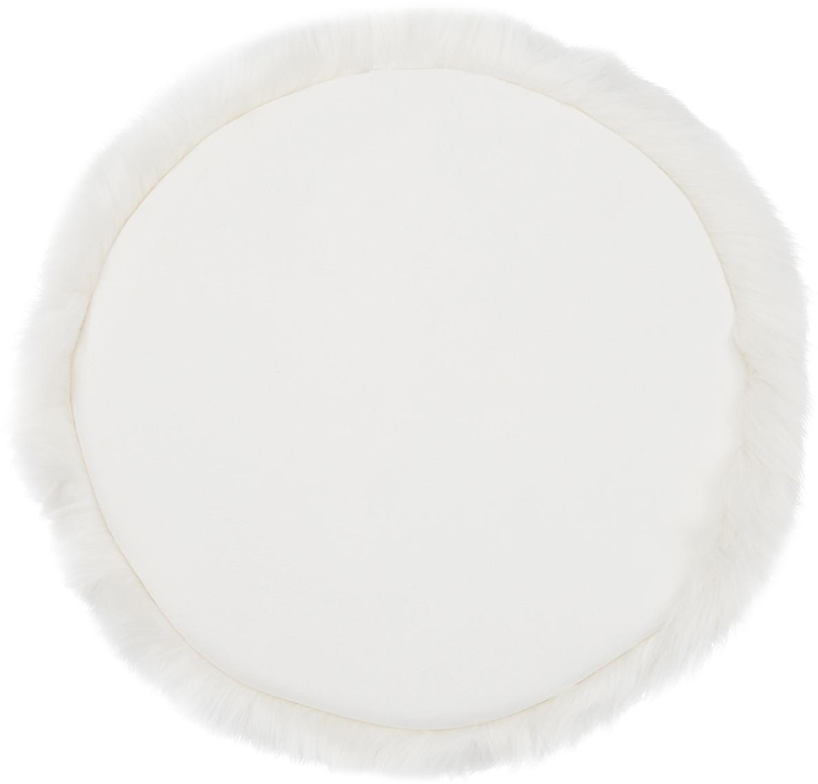 Runde Kunstfell-Sitzauflage Mathilde, glatt, Vorderseite: 65% Akryl, 35% Polyester, Rückseite: 100% Polyester, Creme, Ø 37 cm