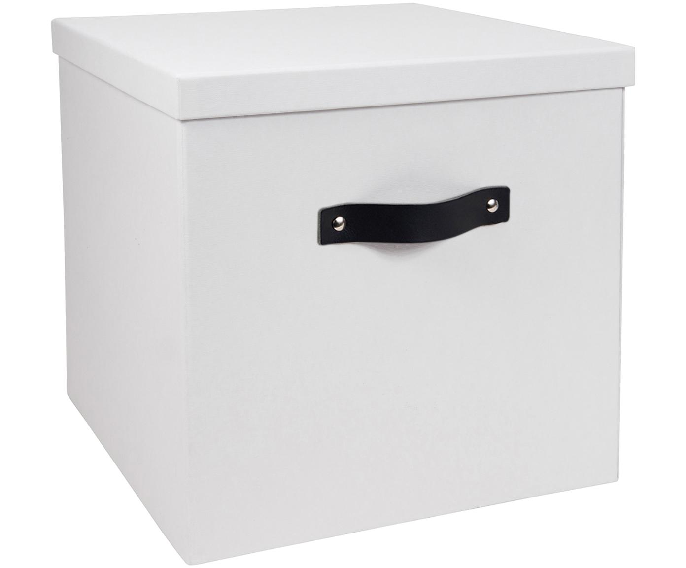 Aufbewahrungsbox Texas, Box: Fester, laminierter Karto, Griff: Leder, Weiss, 32 x 32 cm