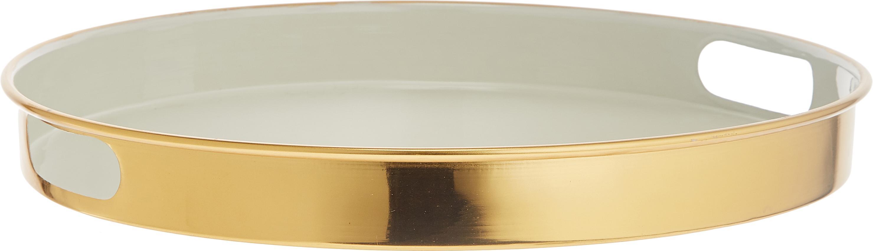 Rundes Serviertablett Dining, Metall, beschichtet, Hellgrau, Goldfarben, Ø 38 x H 5 cm