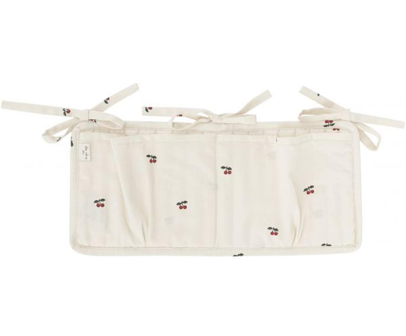 Portaoggetti per lettino e culla Quaby, Rivestimento: raso di cotone organico, , Bianco, rosso, Larg. 17 x Alt. 35 cm