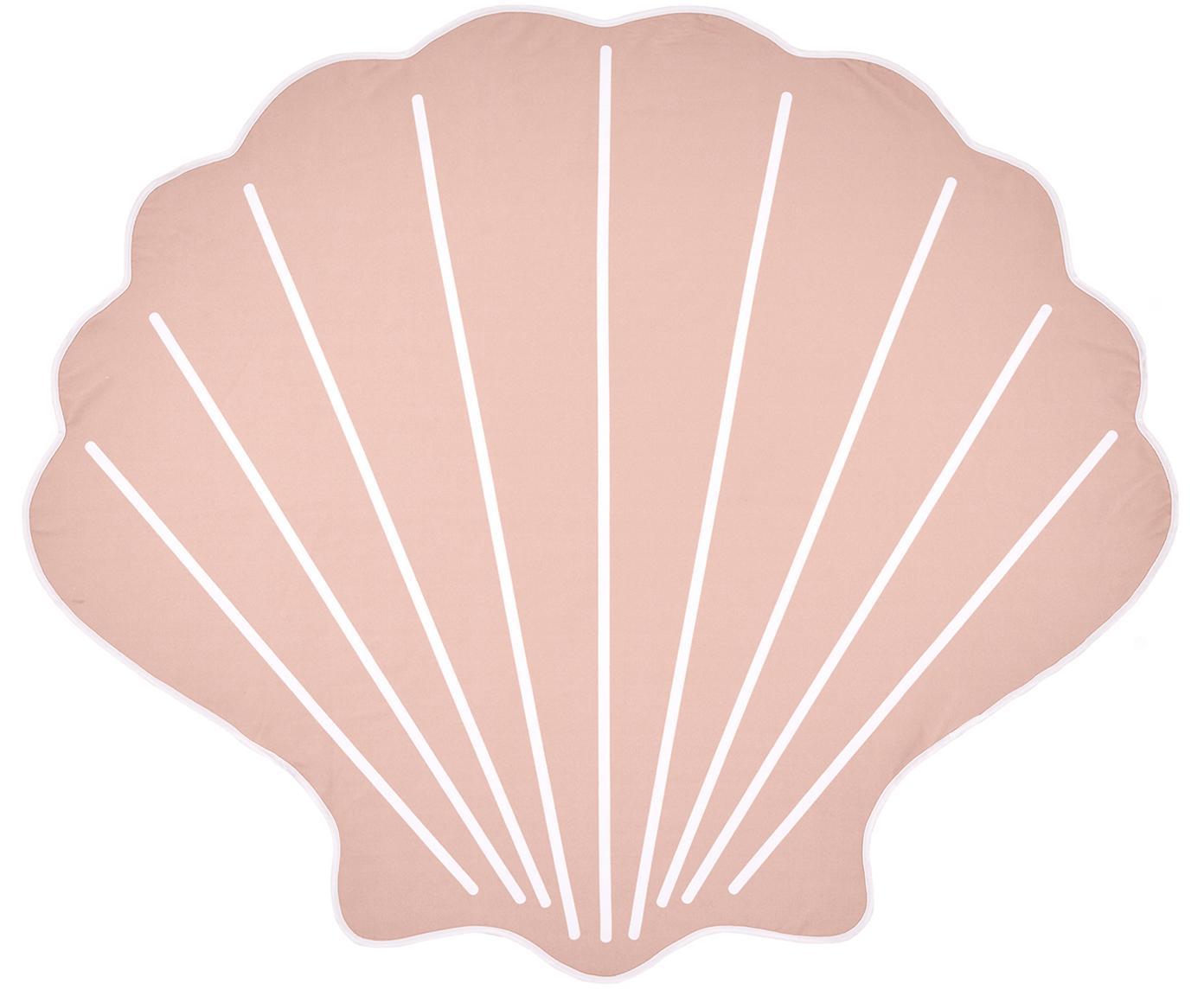Toalla de playa Shelly, 55%poliéster, 45%algodón Gramaje ligero 340g/m², Rosa, blanco, An 150 x L 150 cm