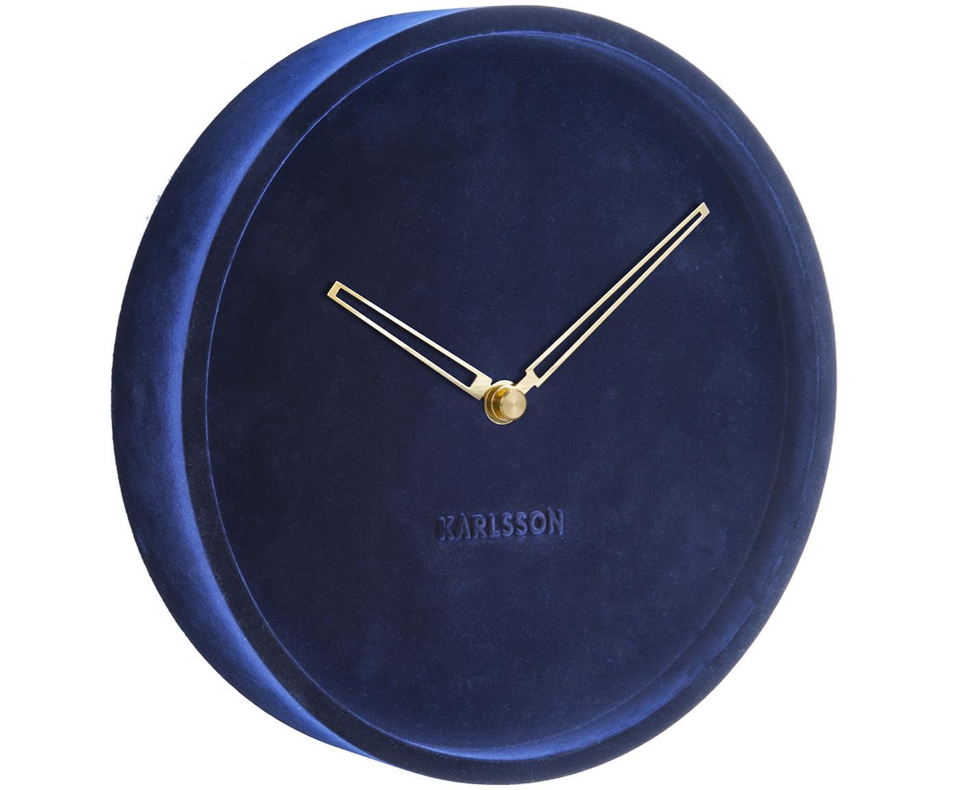 Orologio da parete in velluto Lush, Quadrante: velluto di poliestere, Blu, Ø 30 x Prof. 6 cm