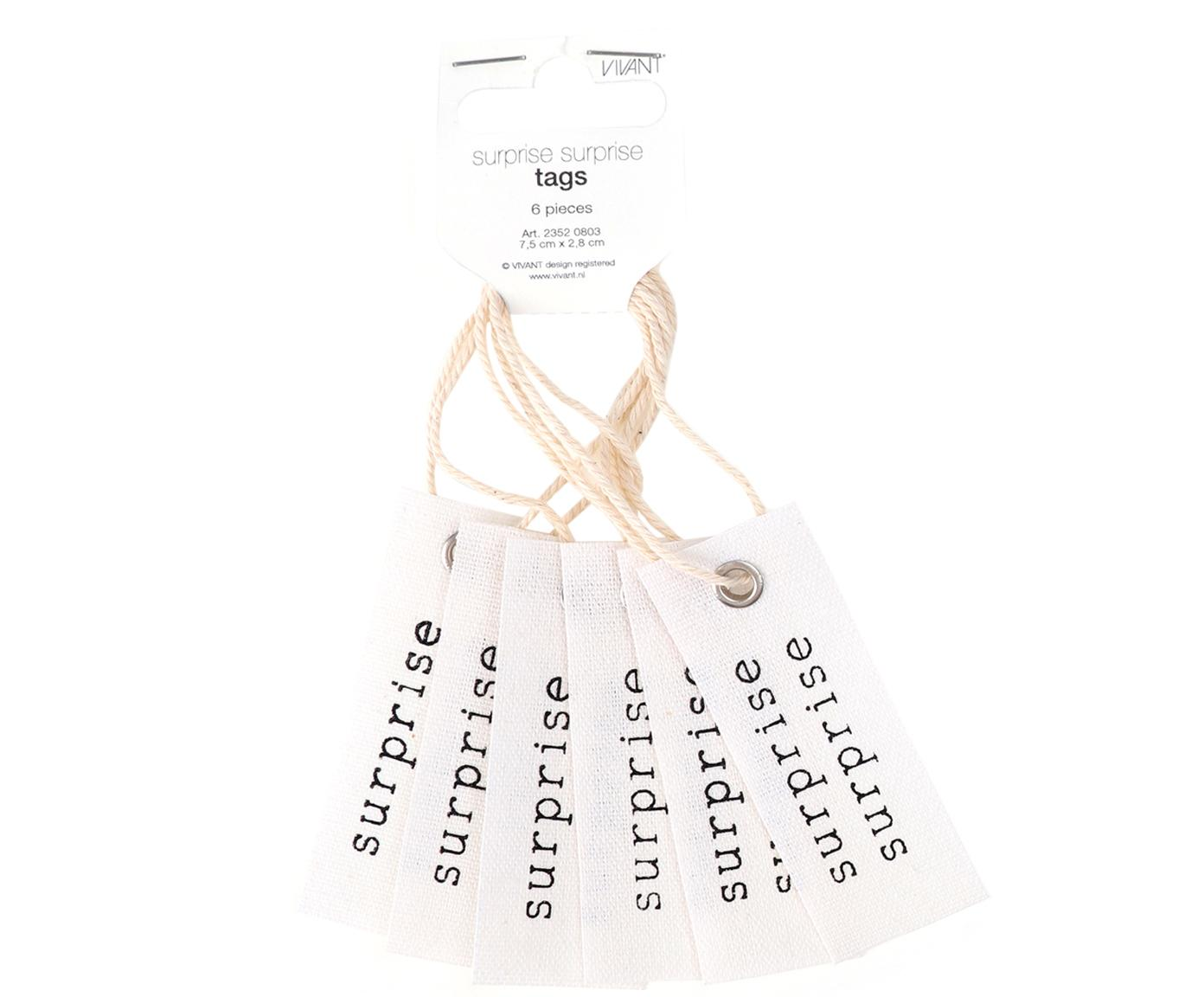 Etichetta confezione regalo Surprise 6 pz, 65% cotone, 35% lino, Crema, nero, Larg. 3 x Alt. 8 cm
