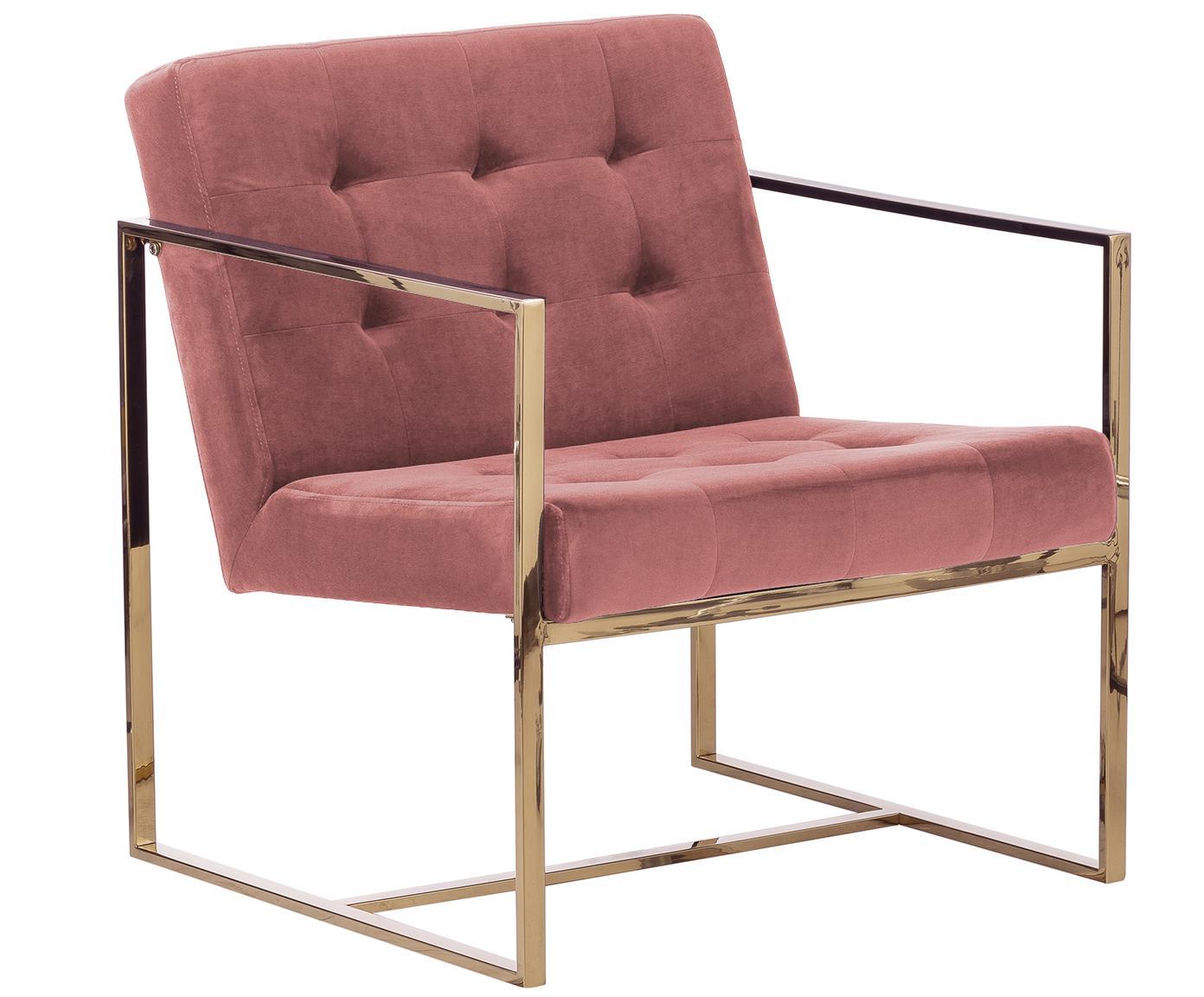 Fluwelen fauteuil Manhattan, Bekleding: fluweel (polyester), Frame: gecoat metaal, Oudroze, B 70 x D 72 cm