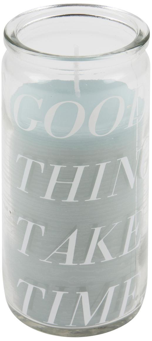 Vela Good Things, Vidrio, cera, Transparente, verde menta, Ø 6 x Al 14 cm