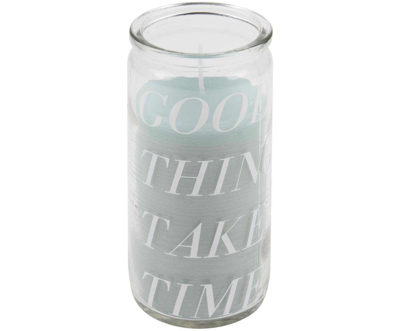 Candela Good Things, Vetro, cera, Trasparente, acquamarina, Ø 6 x A 14 cm