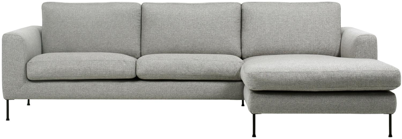 Ecksofa Cucita (3-Sitzer), Bezug: Webstoff (Polyester) Der , Gestell: Massives Kiefernholz, Webstoff Hellgrau, B 262 x T 163 cm
