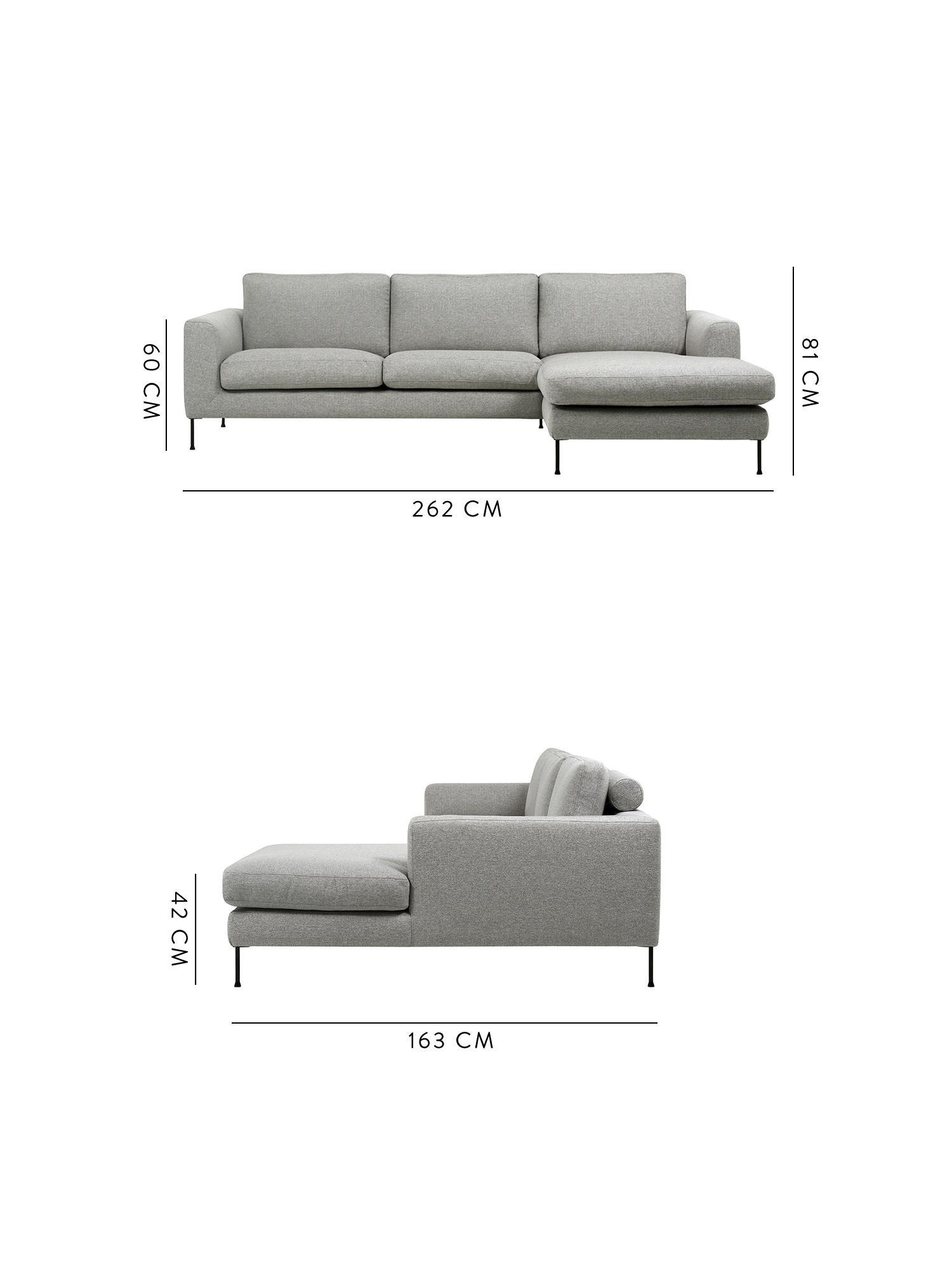 Canapé d'angle 3 places Cucita, Tissu gris clair