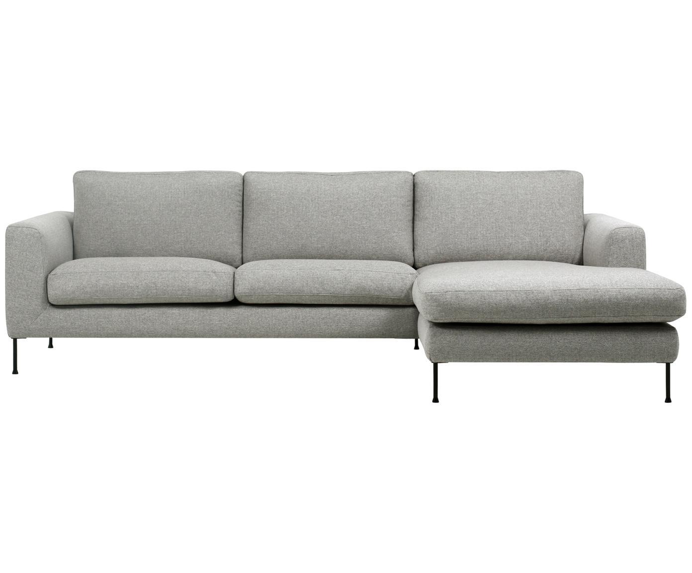 Hoekbank Cucita (3-zits), Bekleding: geweven stof (polyester), Frame: massief grenenhout, Poten: gelakt metaal, Lichtgrijs, B 262 x D 163 cm