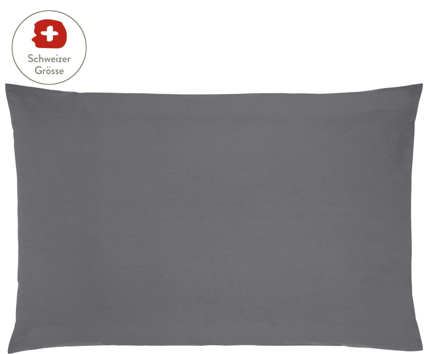 Baumwollperkal-Kissenbezug Elsie in Dunkelgrau, Webart: Perkal Fadendichte 200 TC, Dunkelgrau, 65 x 100 cm