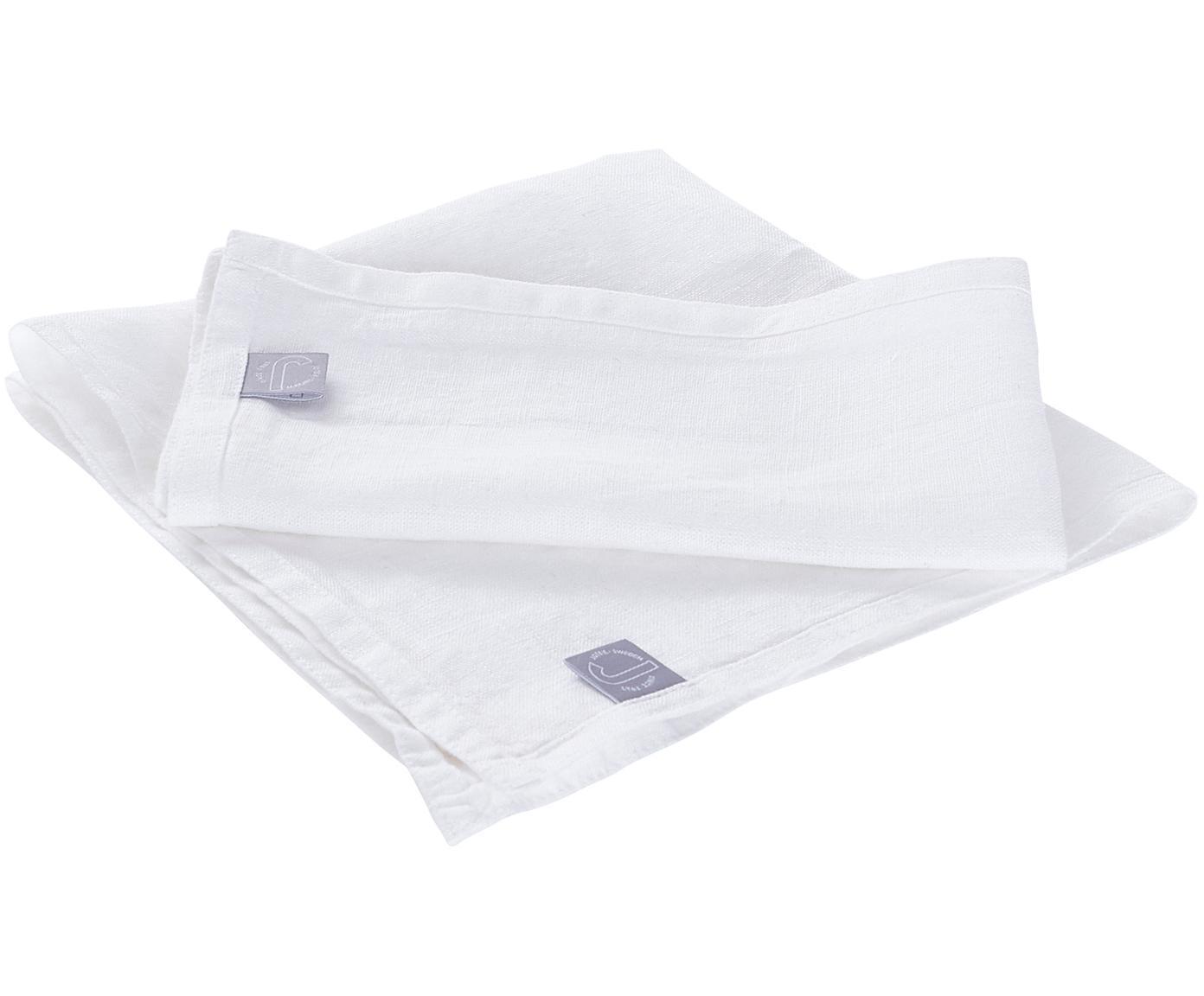 Leinen-Servietten Hedda, 2 Stück, Leinen, Weiß, 42 x 42 cm