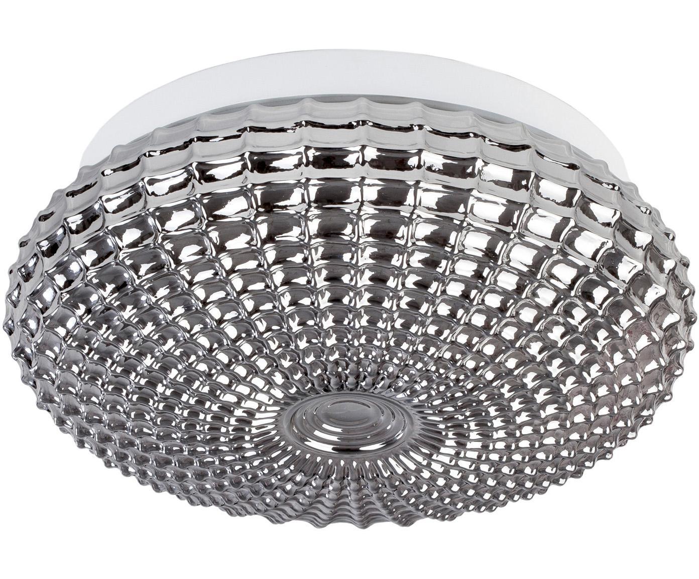 Deckenleuchte Clam aus Glas, Lampenschirm: Glas, Baldachin: Stahl, beschichtet, Chrom, Weiß, Ø 30 x H 12 cm