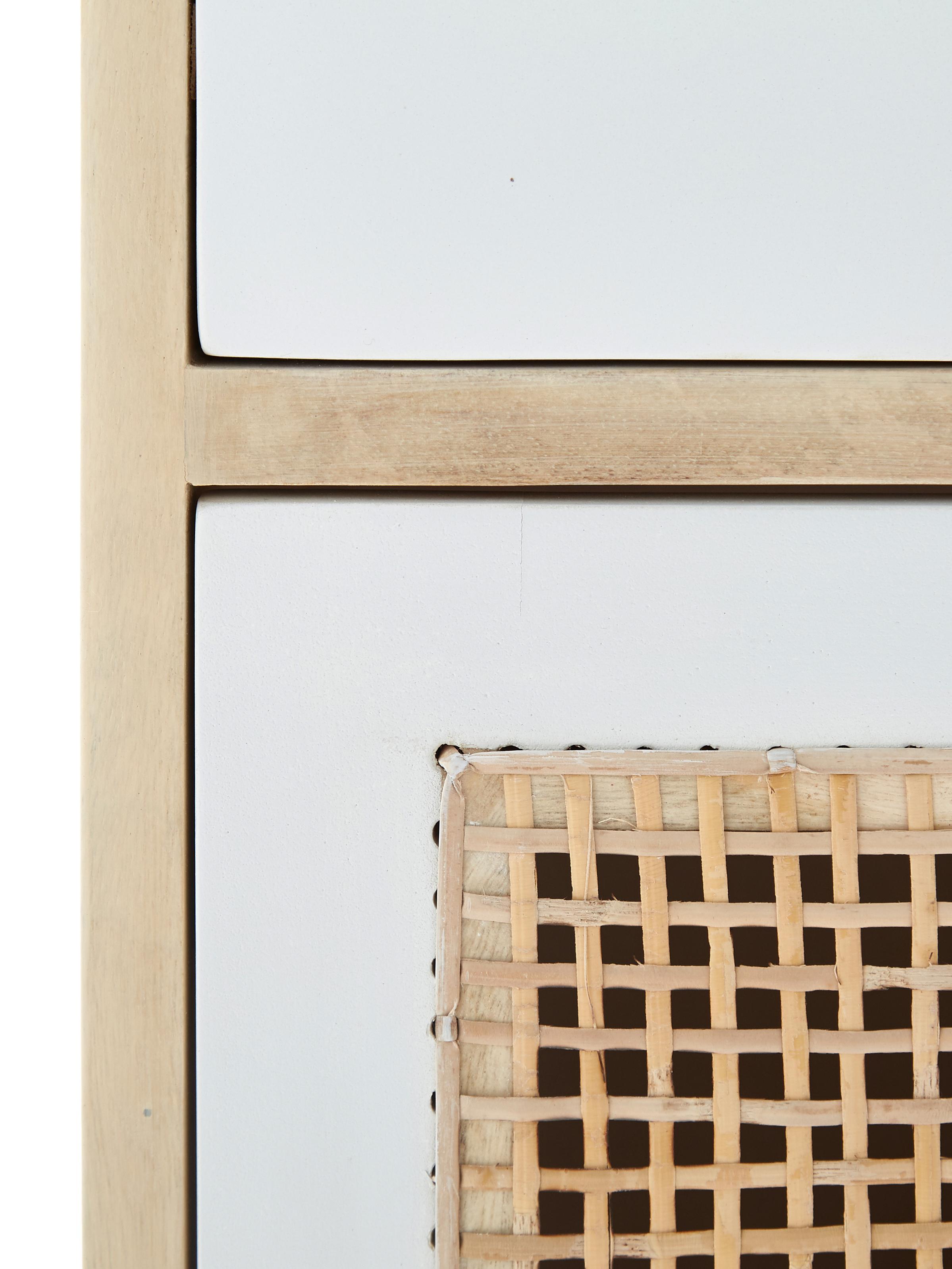 Nachttisch Georg, Korpus: Mangoholz, massiv, naturb, Mangoholz, Weiß, 40 x 60 cm