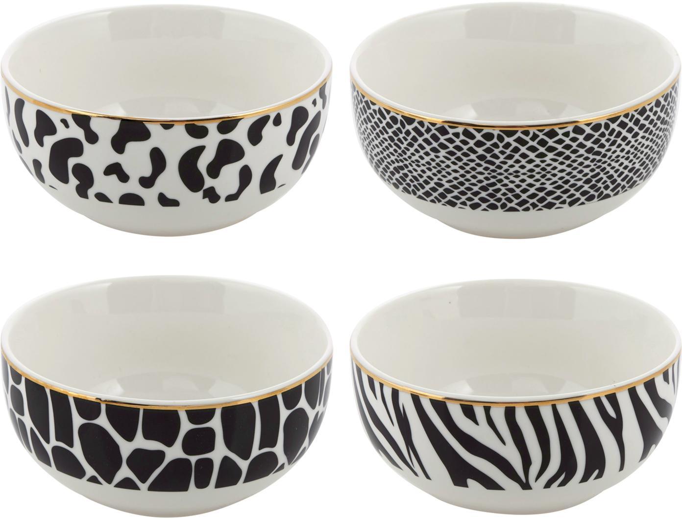 Komplet misek Wild Jungle, 4 elem., Porcelana, Czarny, biały, Ø 13 x W 7 cm