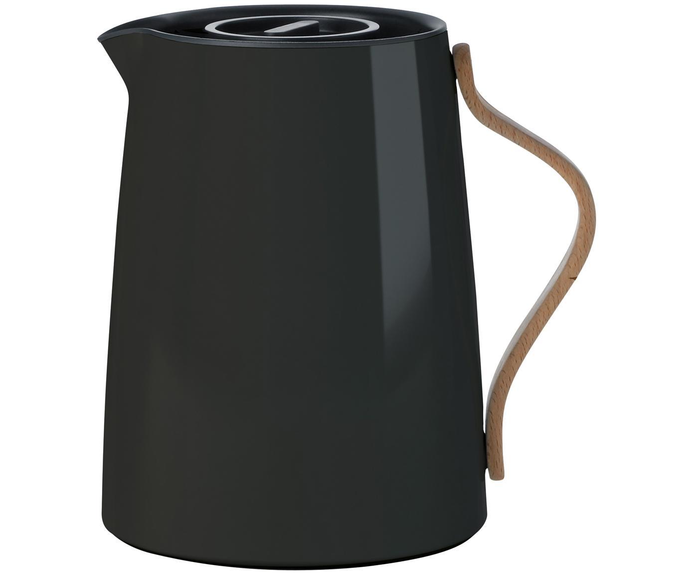 Teezubereiter Emma in Schwarz glänzend, Korpus: Stahl, Beschichtung: Emaille, Griff: Buchenholz, Schwarz, 1 l
