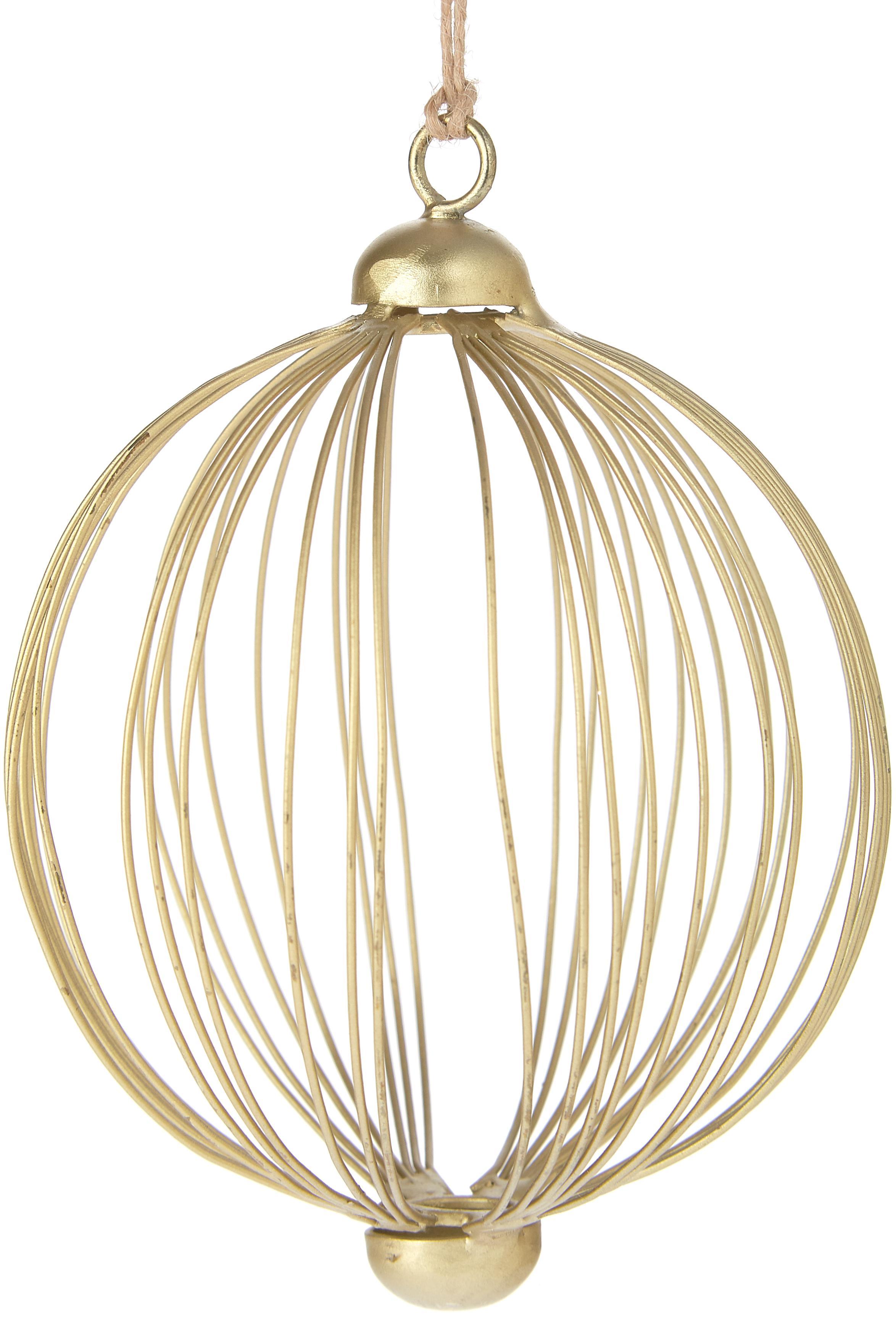Kerstboomhangers Twine, 2 stuks, Gelakt metaal, Goudkleurig, Ø 10 cm