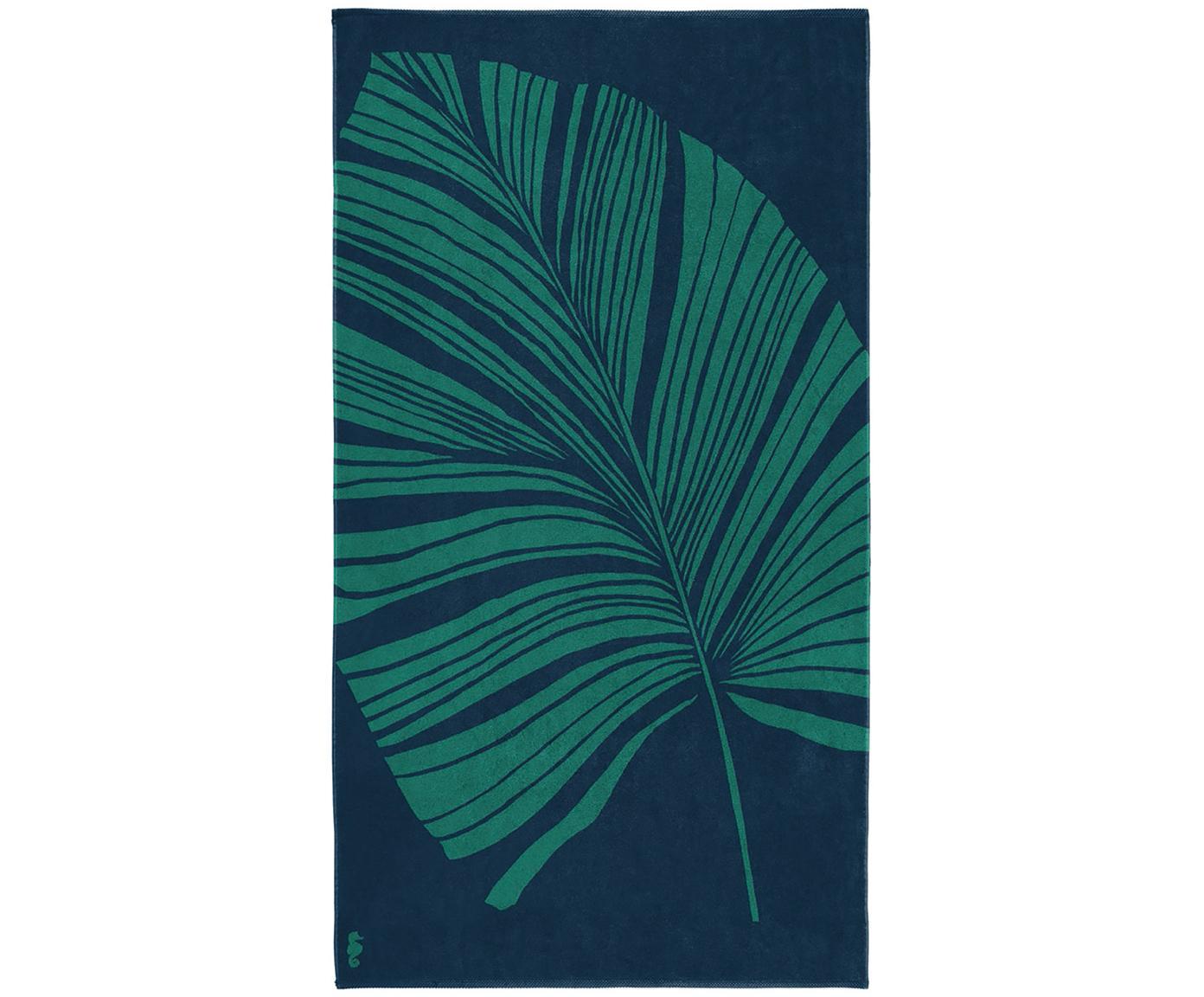 Strandtuch Foil mit tropischem Print, Webart: Velours, Blau, Grün, 100 x 180 cm