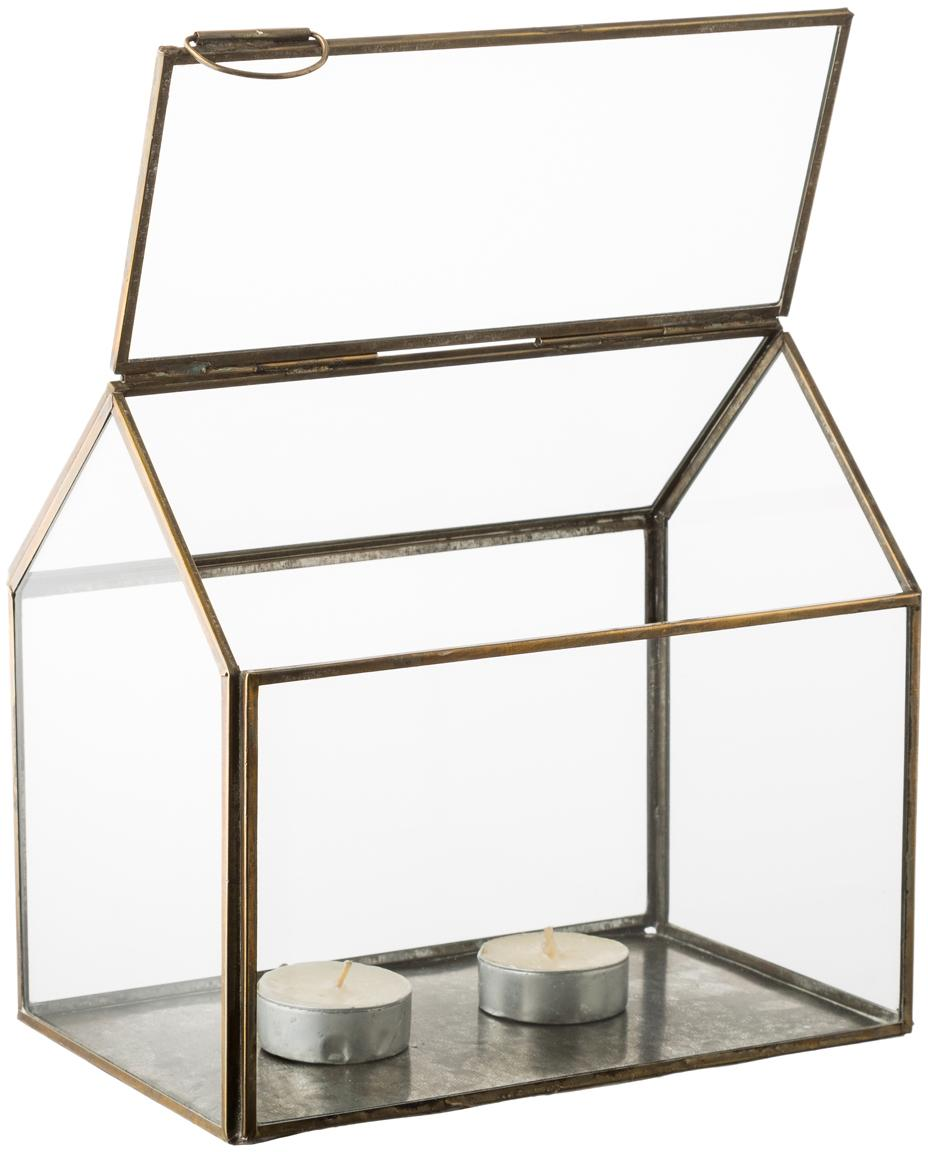 Casetta portacandele in vetro My House, Struttura: metallo rivestito, Bronzo, L 19 x A 18 cm