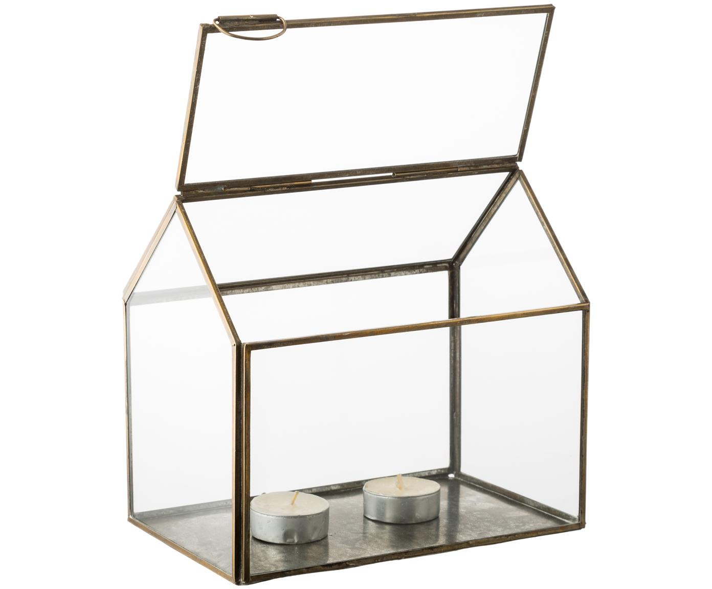 Portavelas My House, Estructura: metal, recubierto, Bronce, An 19 x Al 18 cm