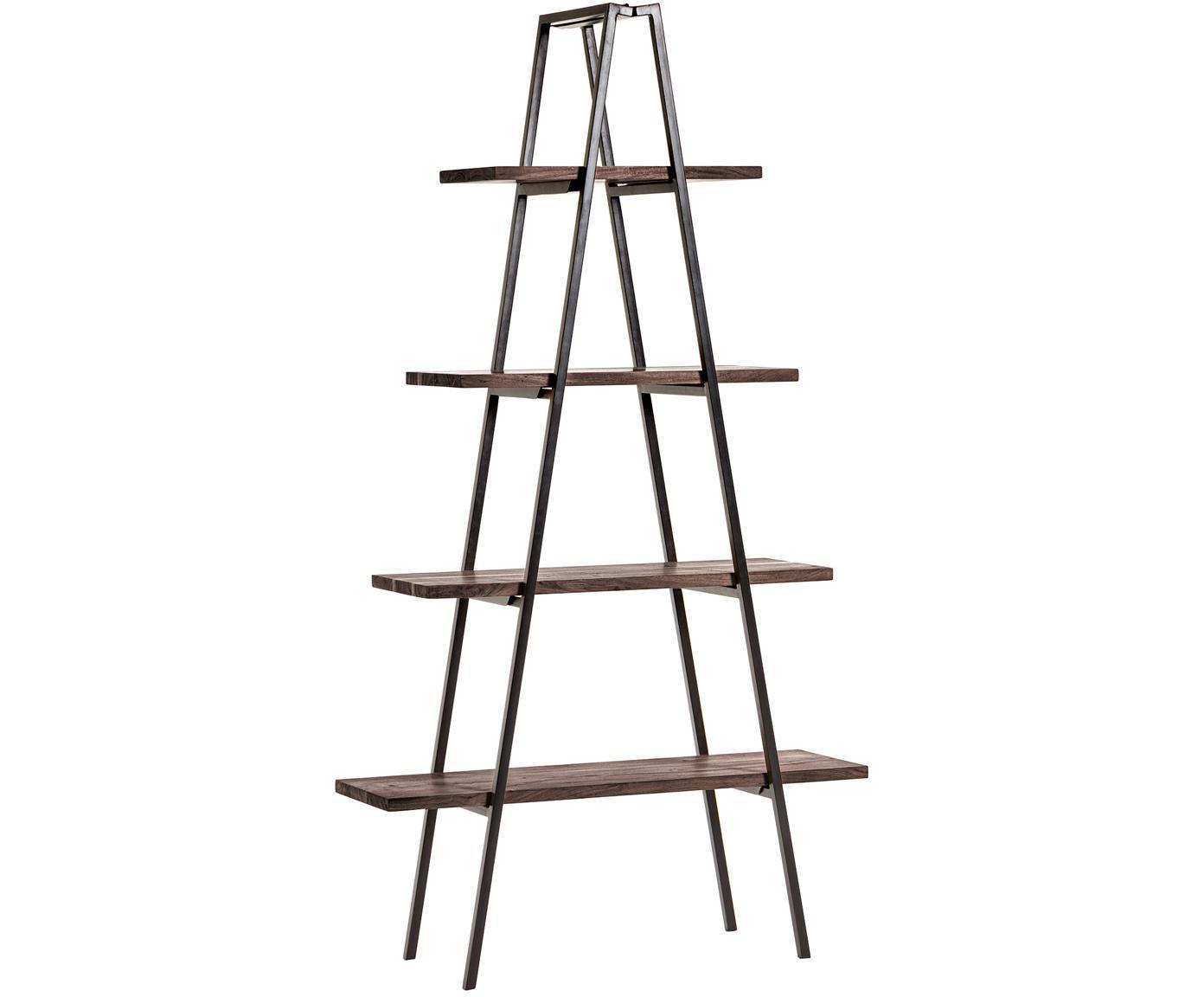 Regal Delaia im Industrial Design, Holz, Metall, Dunkelbraun, Schwarz, 100 x 185 cm