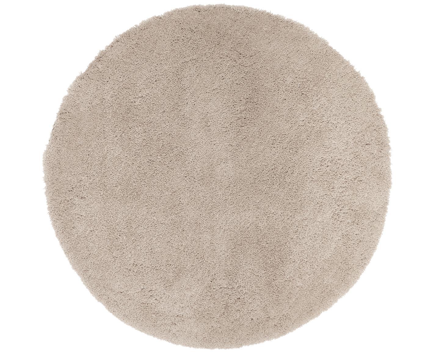 Tappeto peloso rotondo beige Leighton, Retro: 100% poliestere, Beige-marrone, Ø 120 cm