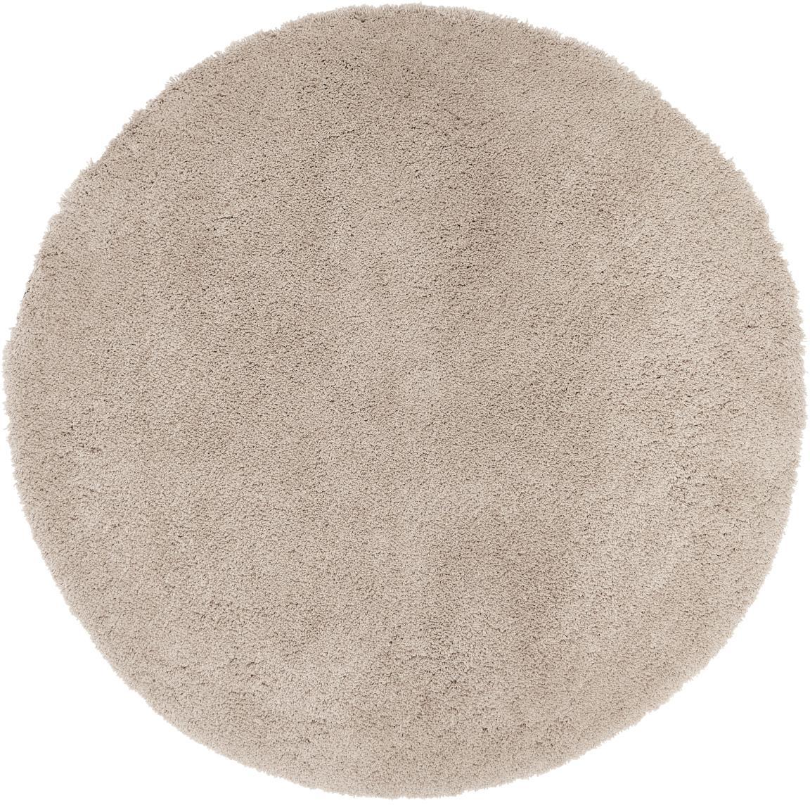 Flauschiger Runder Hochflor-Teppich Leighton in Beige, Flor: 100% Polyester (Mikrofase, Beige-Braun, Ø 120 cm (Grösse S)