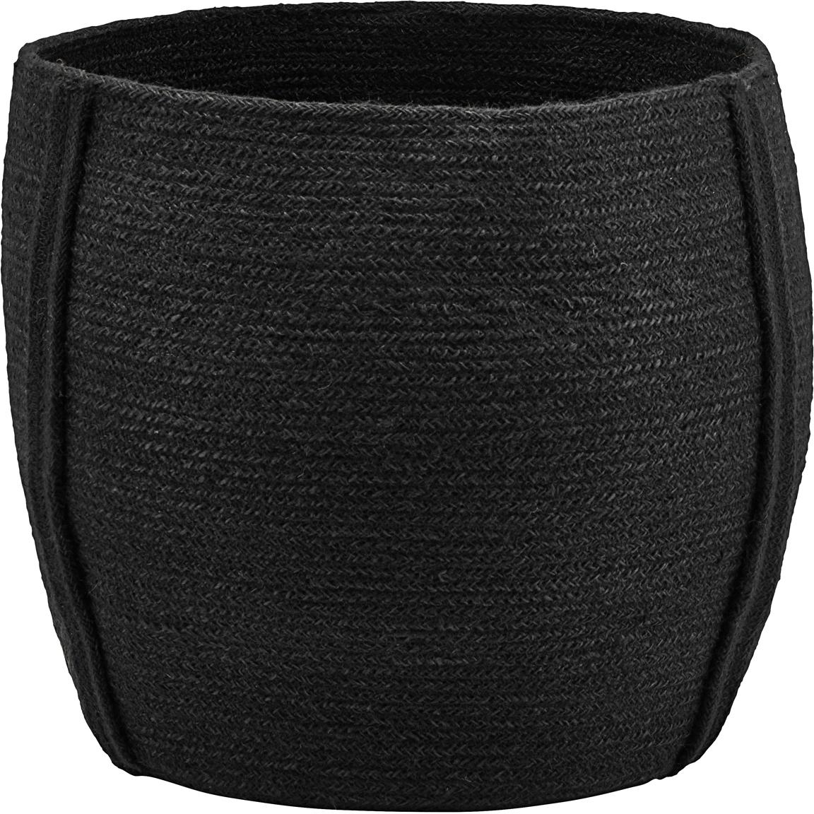 Cesta Drum, Yute, Negro, Ø 40 x Al 35 cm