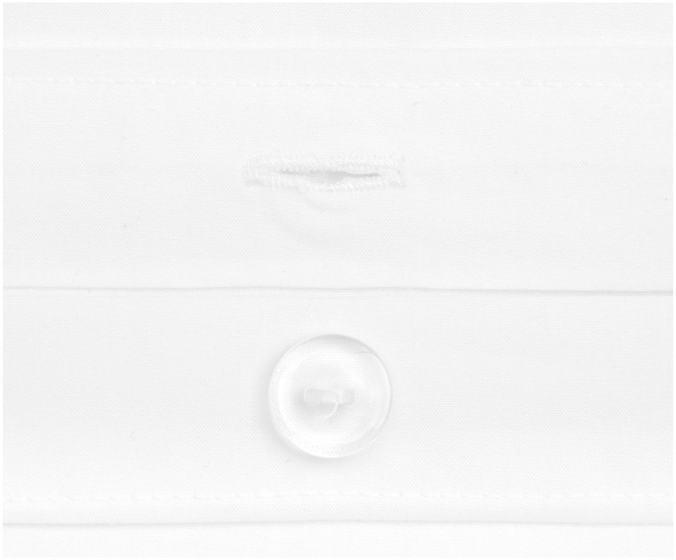 Baumwollperkal-Bettwäsche Joanna in Weiß mit blauem Stehsaum, Webart: Perkal Fadendichte 200 TC, Weiß, Dunkelblau, 135 x 200 cm + 1 Kissen 80 x 80 cm