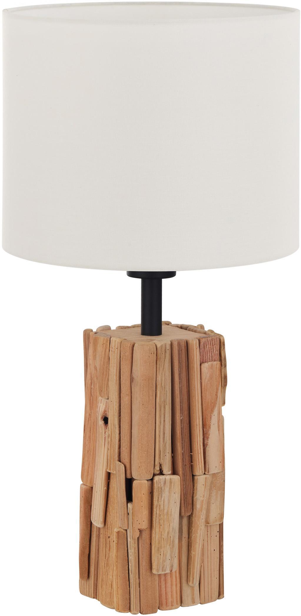 Tafellamp Portishead met houten voet, Lampenkap: linnen, Lampvoet: hout, Bruin, wit, Ø 26 cm