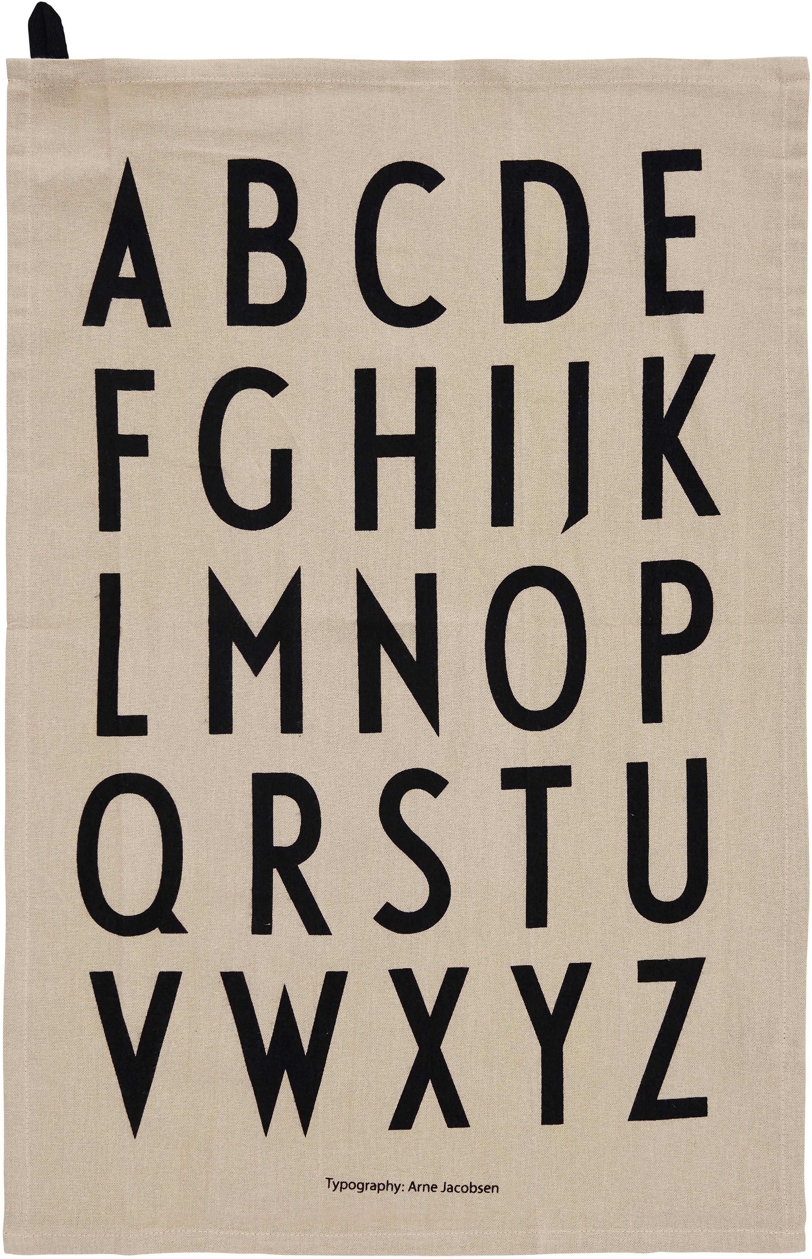 Theedoeken Classic in beige met design letters, 2 stuks, 100% katoen, Beige, zwart, 40 x 60 cm