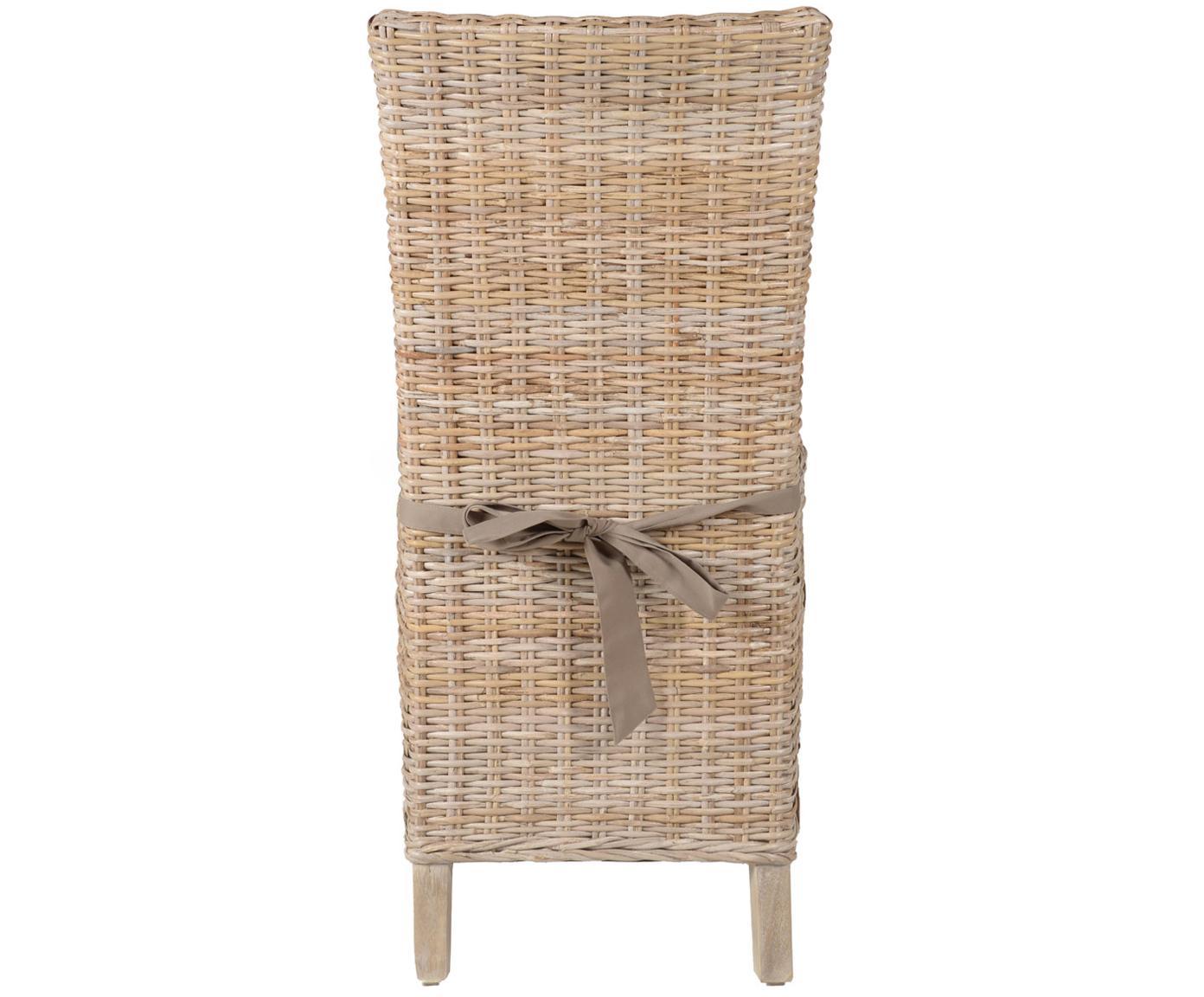 Krzesło z polirattanu Kubu, 2 szt., Nogi: drewno tekowe, lakierowan, Stelaż: drewno akacjowe surowe, Szary, S 46 x G 60 cm
